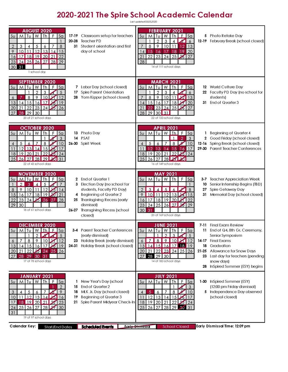 Academic Calendar — The Spire School In Francis Lewis High School 2021 Calendar