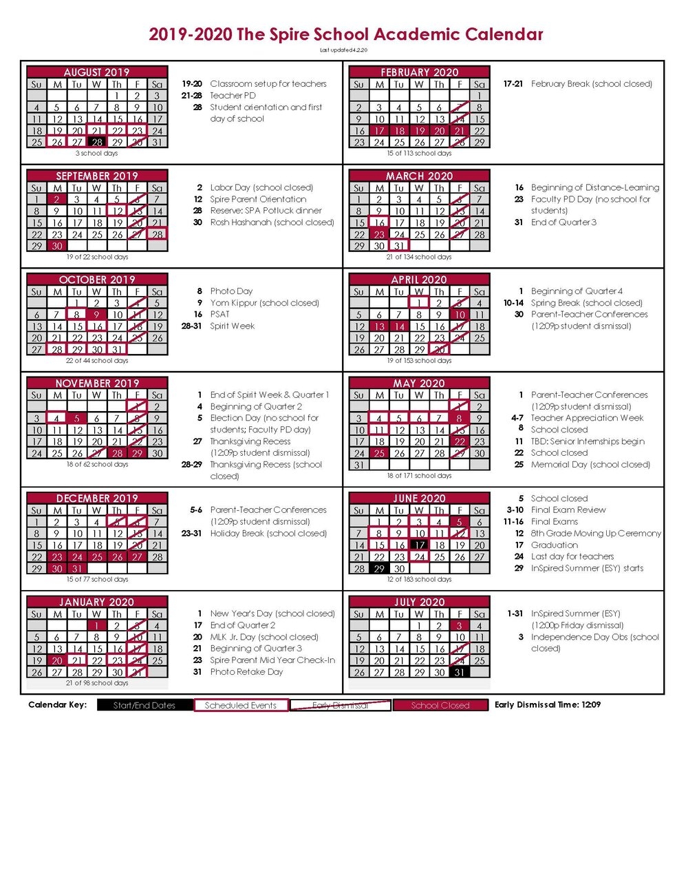 Academic Calendar — The Spire School Inside 2020 Nassau Community College Academic Calendar