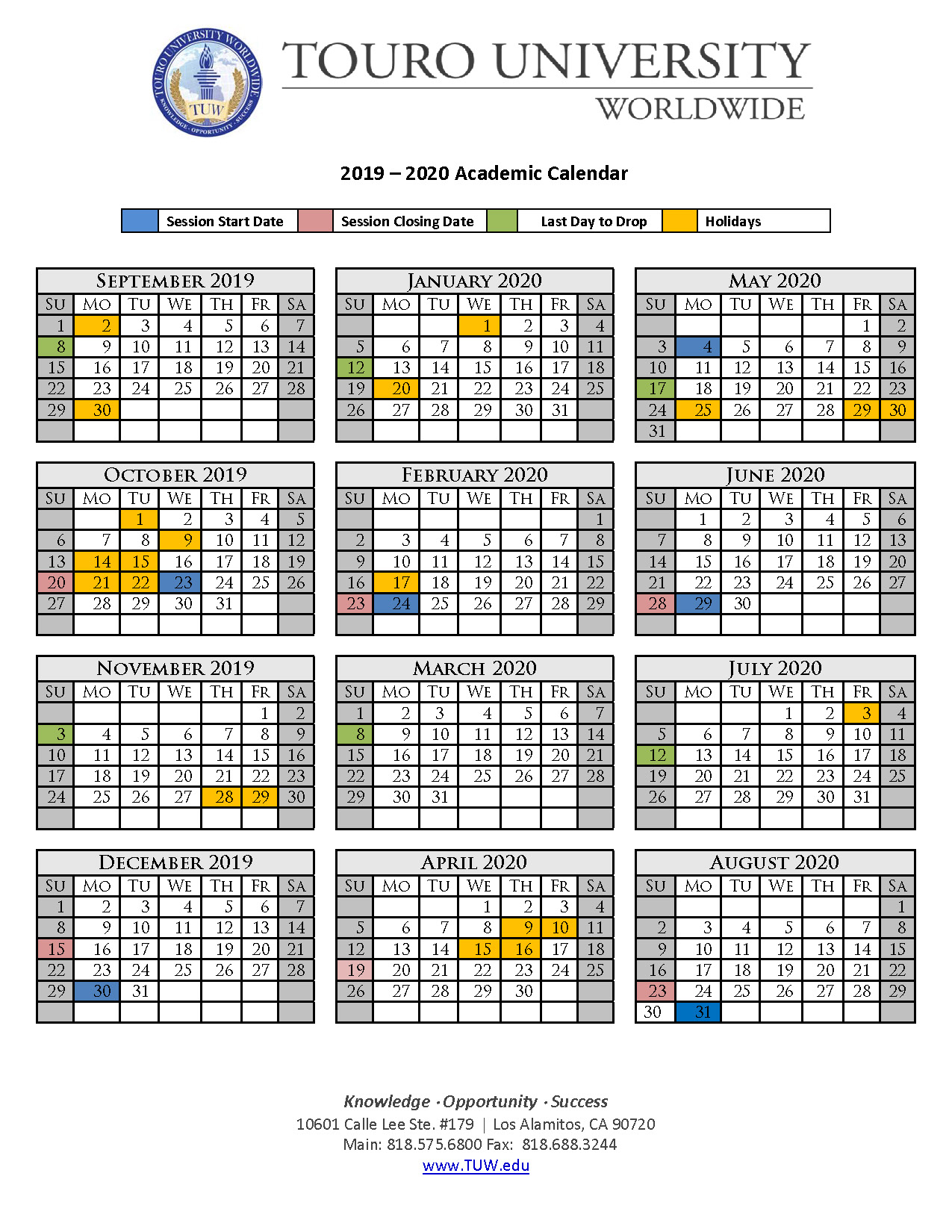 Academic Calendar | Touro University Worldwide Intended For Academic Calendar De Anza College