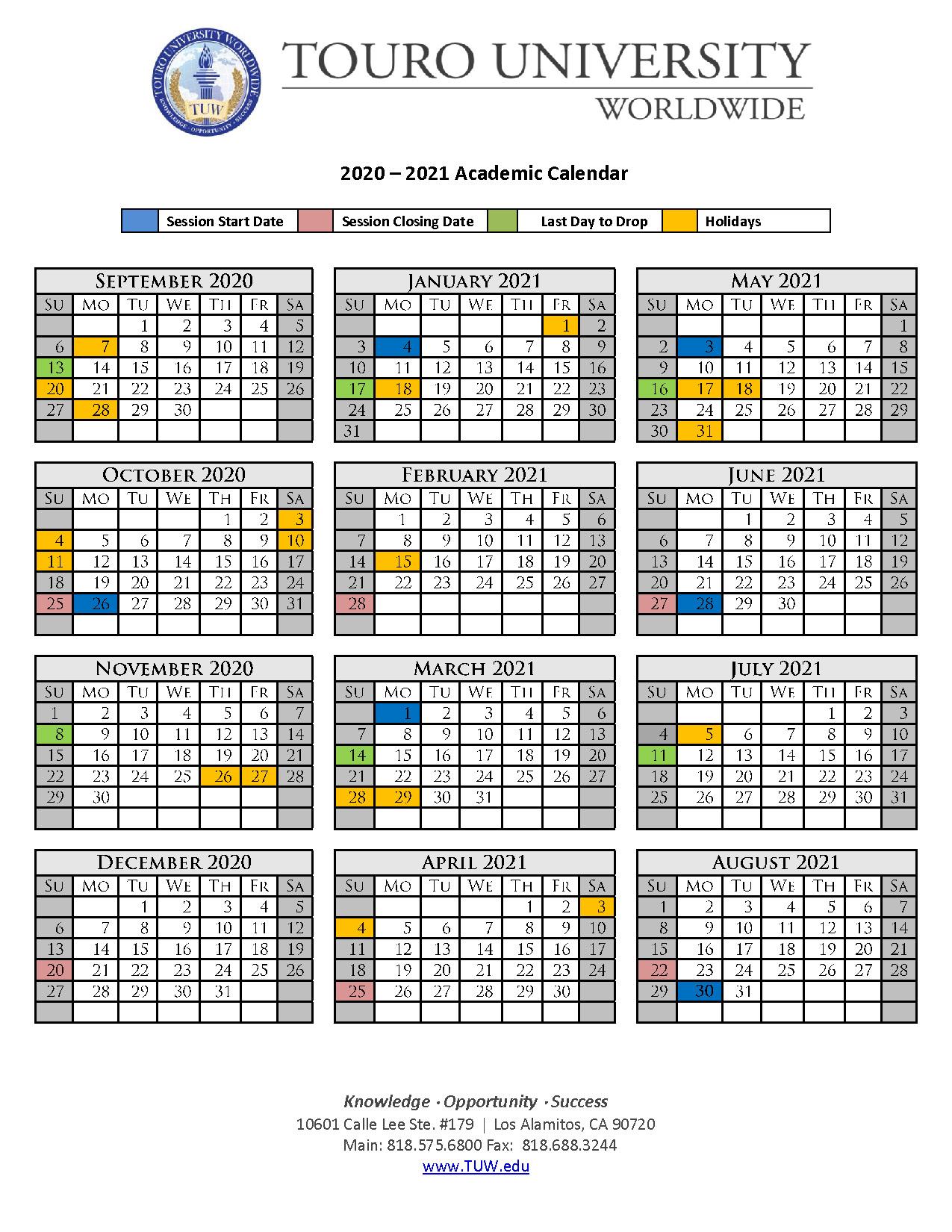 Academic Calendar | Touro University Worldwide Pertaining To Santa Clara University Calendar 2020 2021