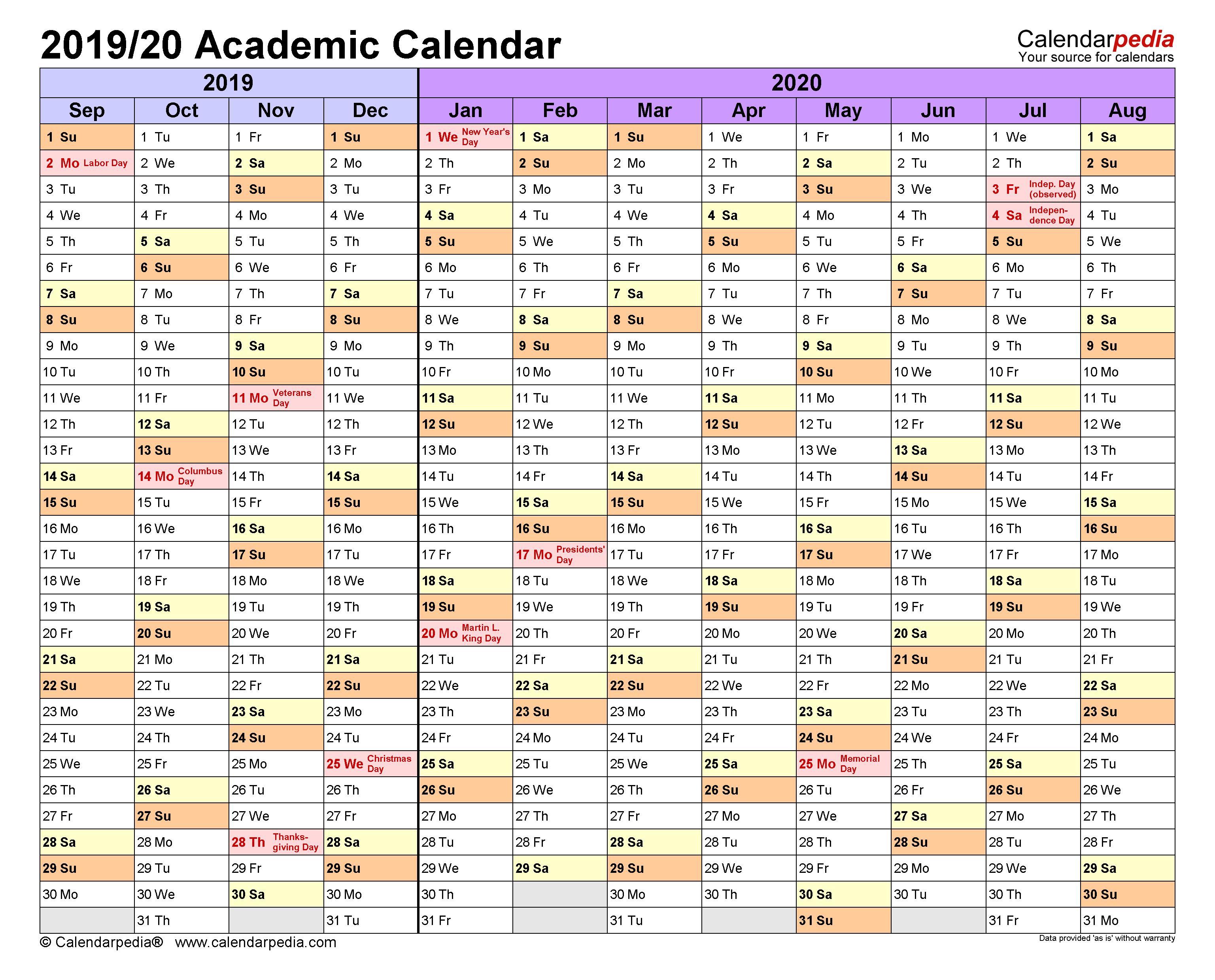 Academic Calendars 2019/2020 - Free Printable Word Templates with regard to Iowa State University Spring Semester Printable Calendar