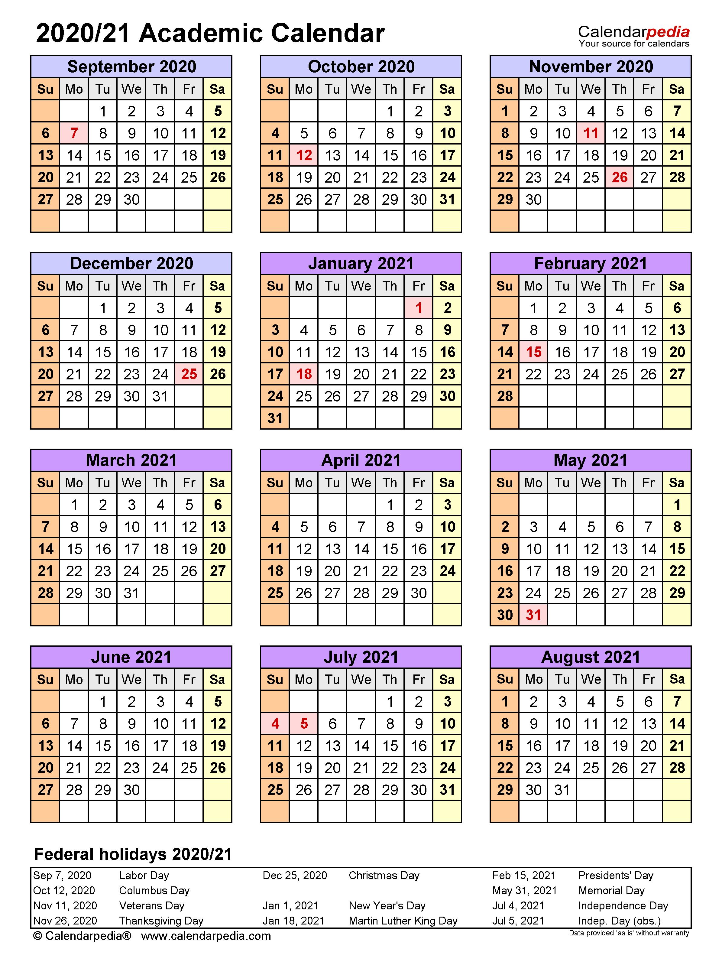 Academic Calendars 2020/2021 – Free Printable Word Templates Inside Printable 2020 2021 School Calendar