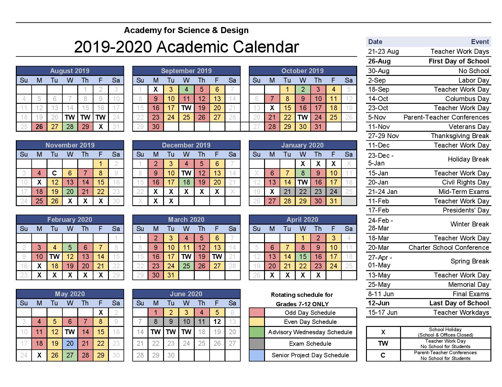 Academic Calendars - Academy For Science And Design inside Bridgewater State University Calendar 2021