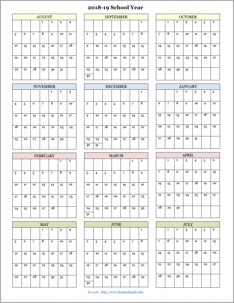 Academic Calendars For 2018 19 School Year (Free Printable Intended For Flanders Family 2020 Academic Calendar  2021