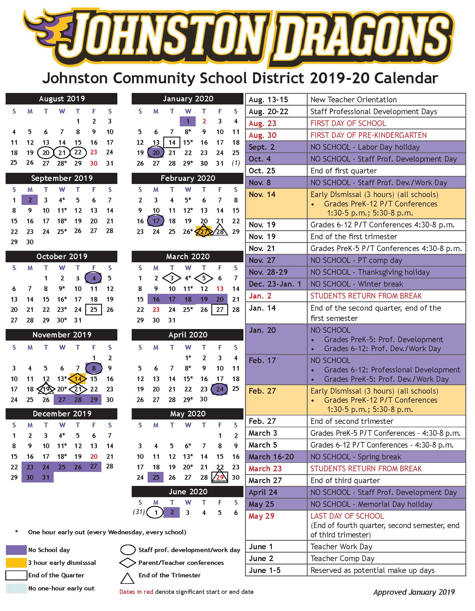 Academic Calendars - Johnston Community School District within Johnston County Public School Calendar