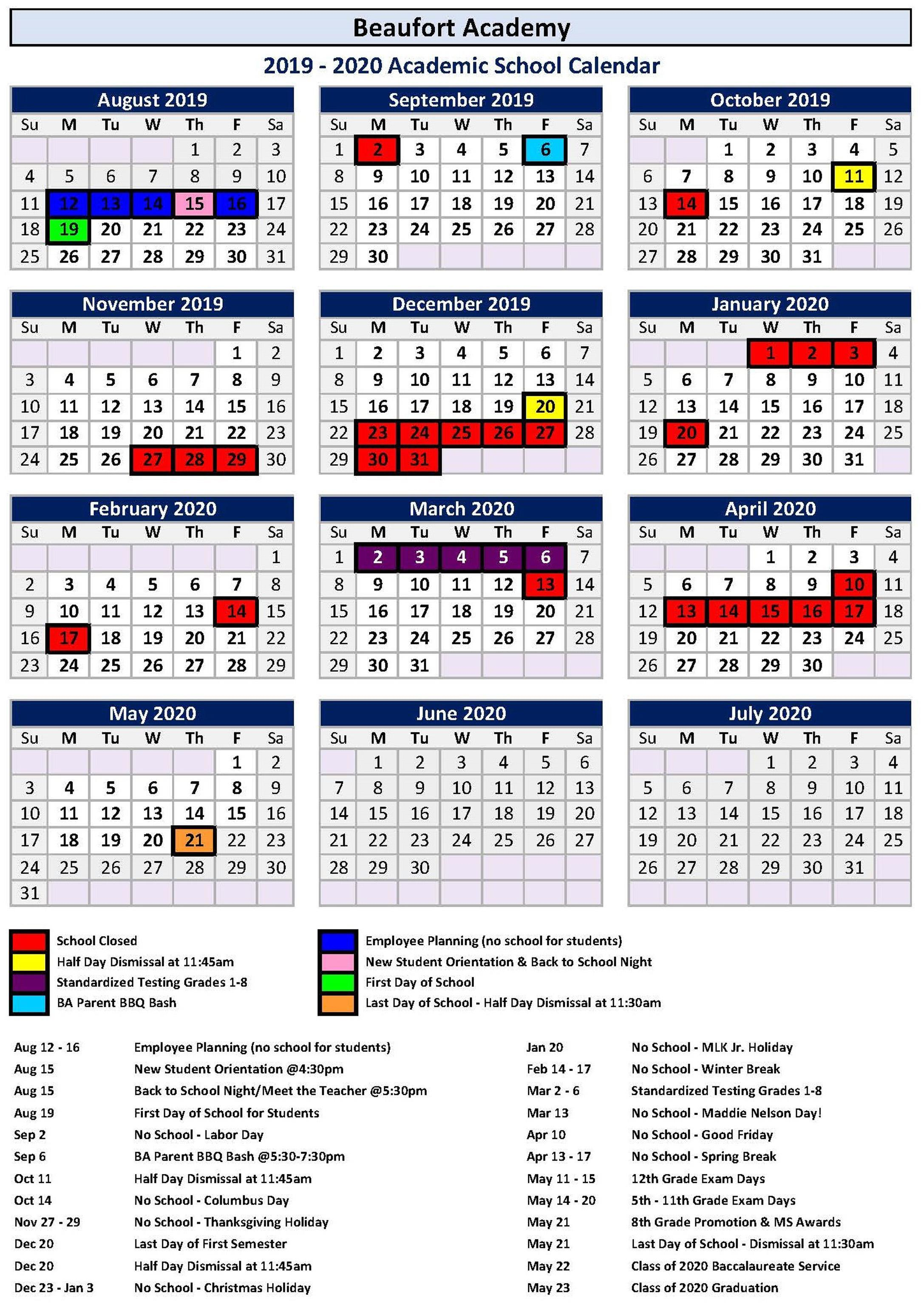 Academic Master Calendar – Ba Families – Beaufort Academy Inside Dorchester County School District 2 Calendar