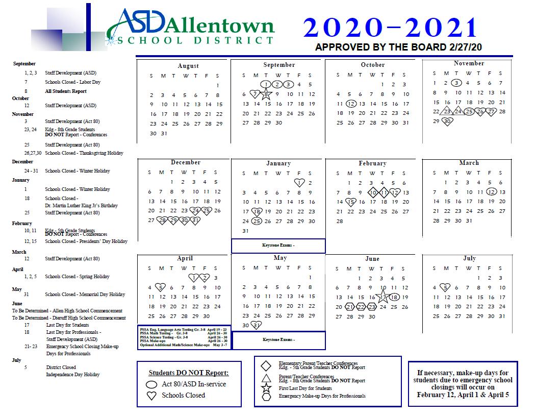 Academic Rating Periods & District Calendar – Allentown Inside Harrison School District 2 Calendar 2021