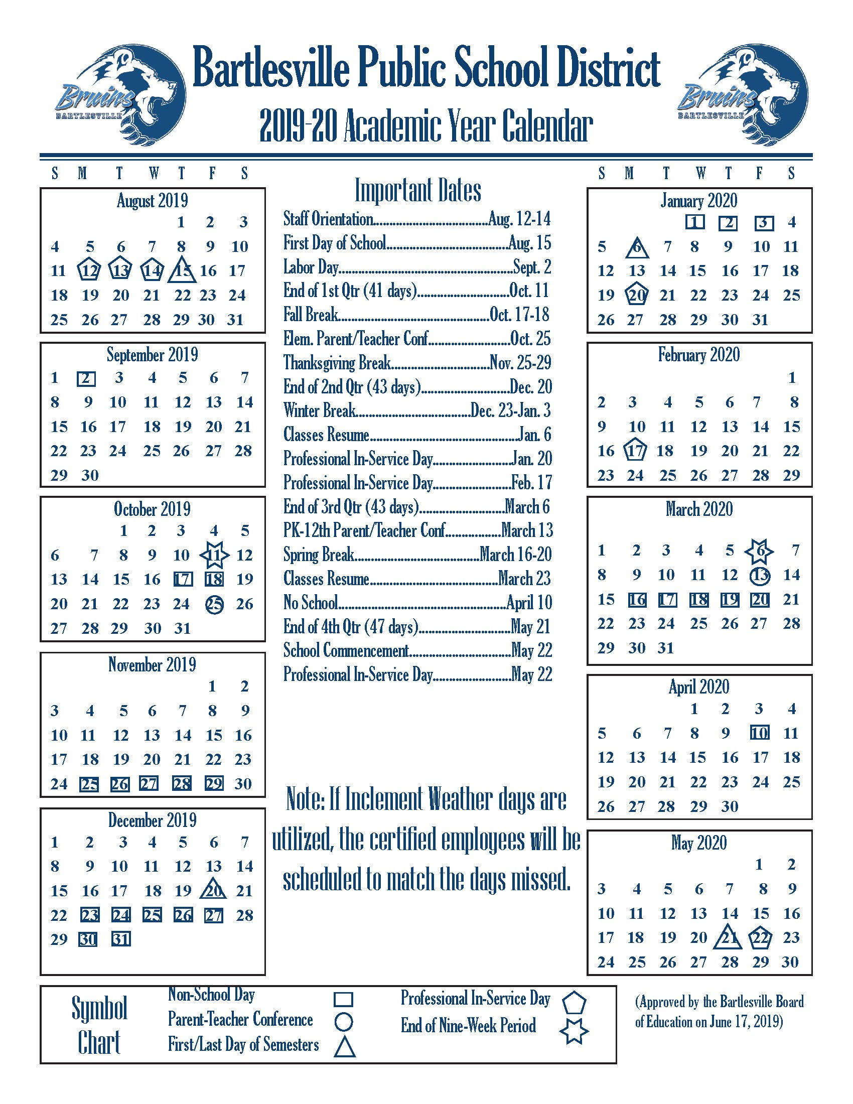 Academic Year Calendars – Bartlesville Public Schools In Broken Arrow Public Schools Calendar
