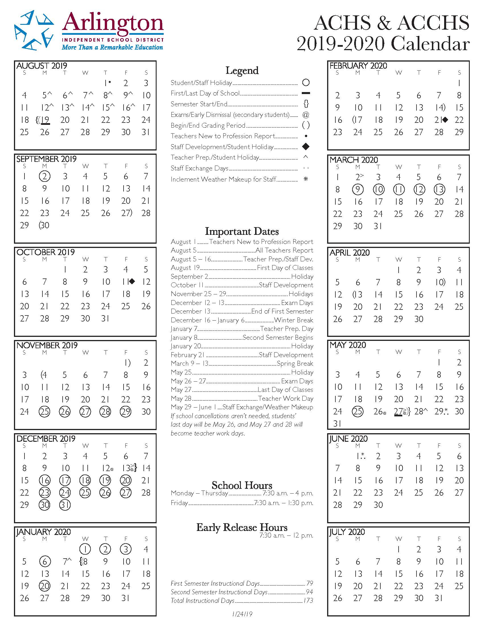 Achs 2019 2020 Calendar – Arlington Collegiate High School Within Collin County Community College District Calendar
