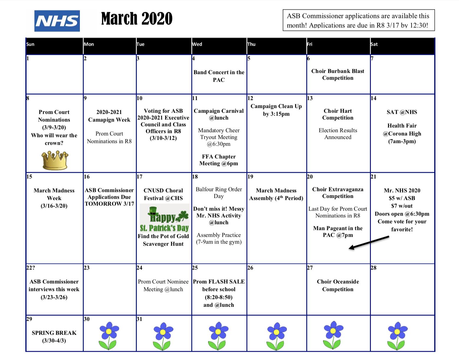 Activities Calendar – Norco High School Regarding Corona Unified School District Calendar