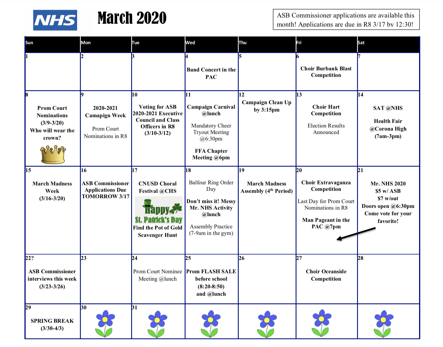 Activities Calendar – Norco High School With Norco School District Calendar
