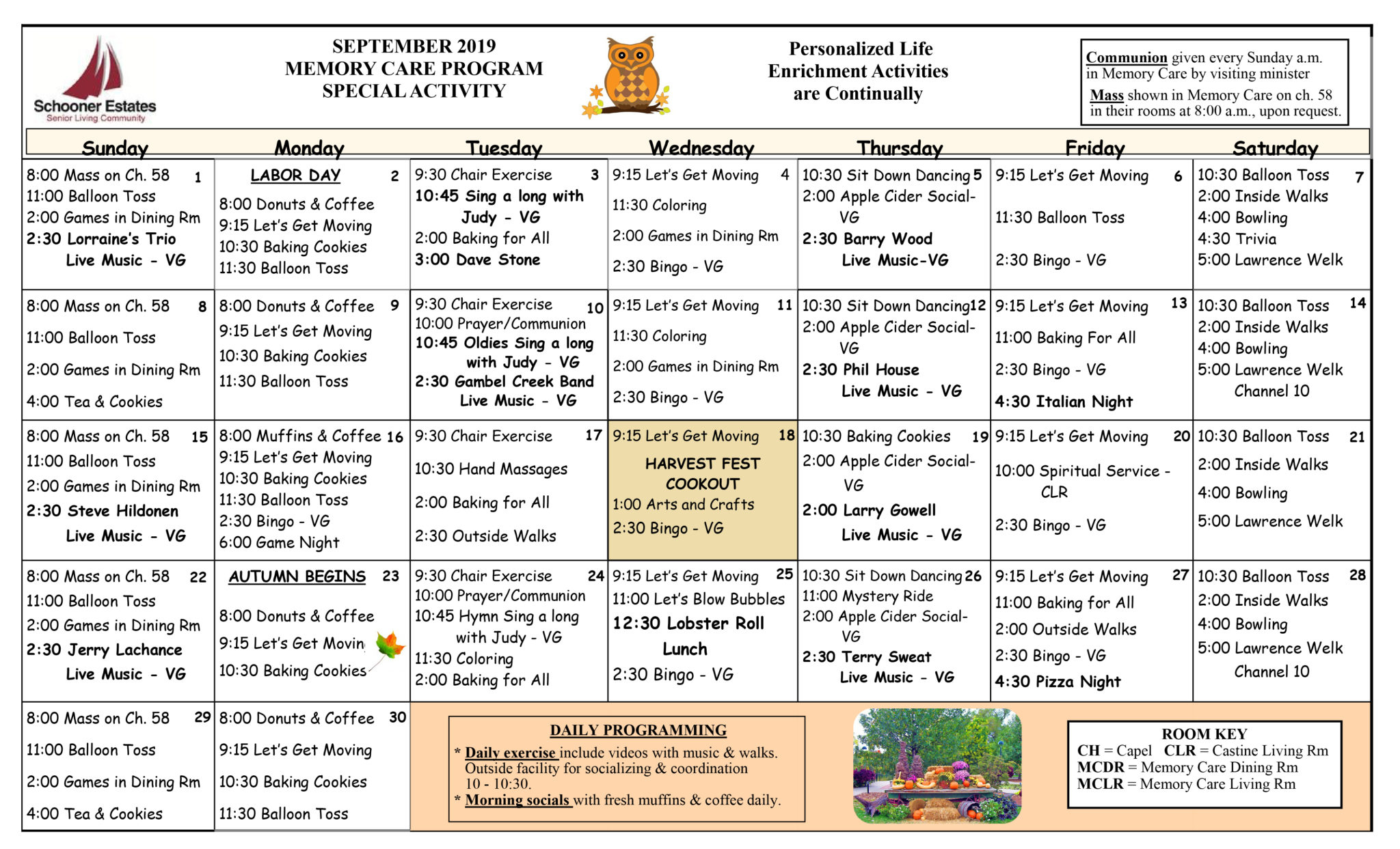 Activity Calendars Throughout Assisted Living Facility Activity Calendar