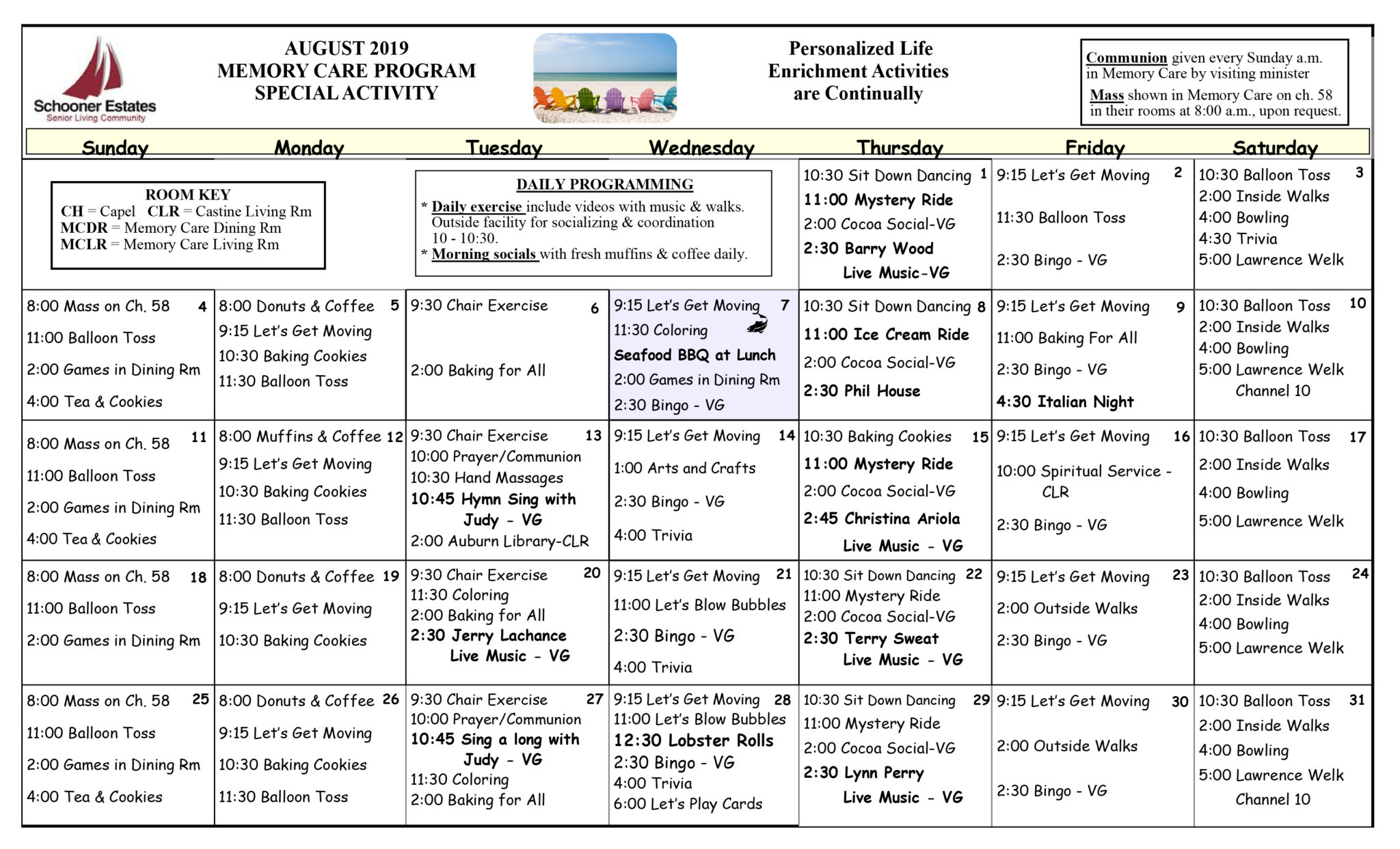 Activity Calendars Within Asiisted Living Home Monthly Cactivity Calendar