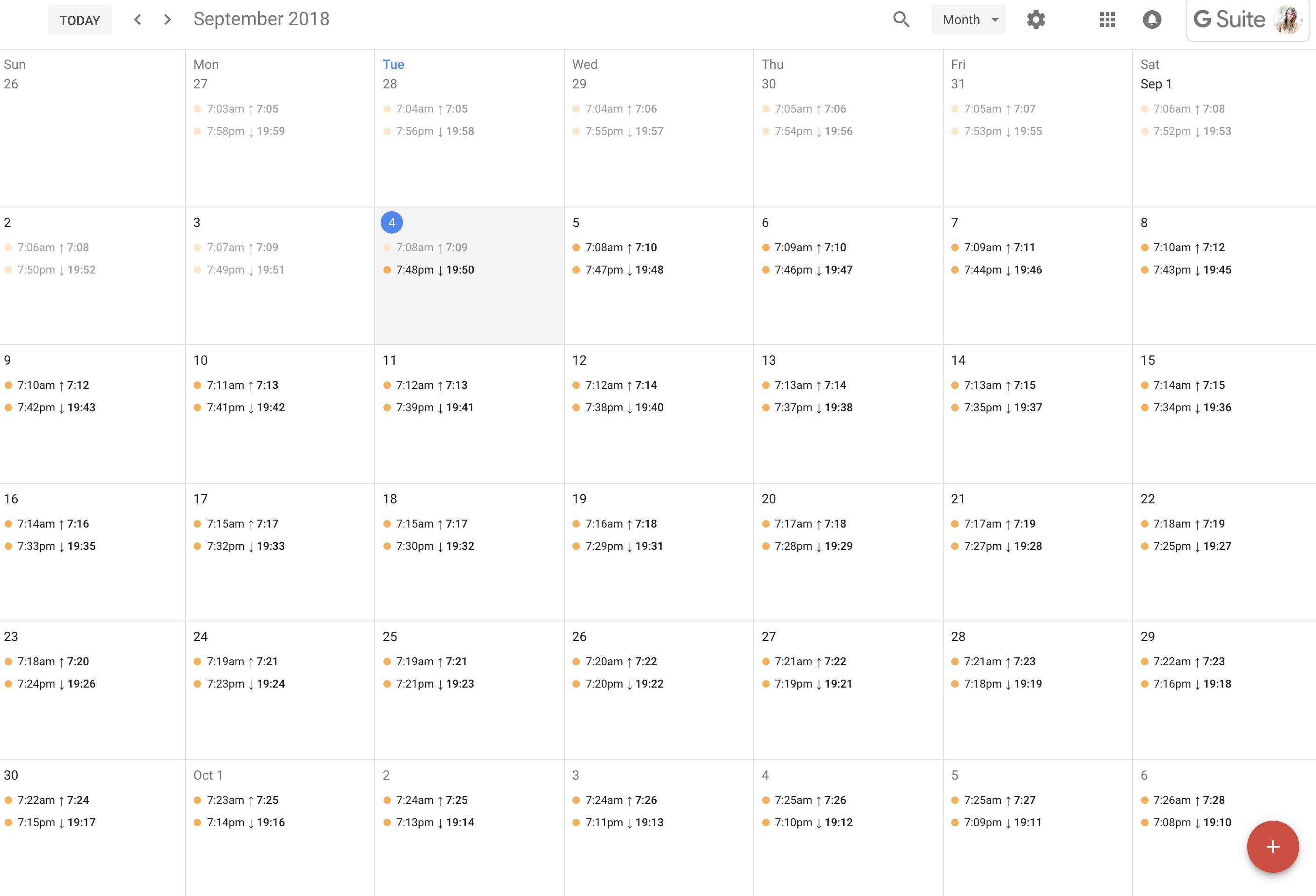 Add Sunrise And Sunset Times To Google Calendar Inside Sunrise Sunset Times Austin Texas