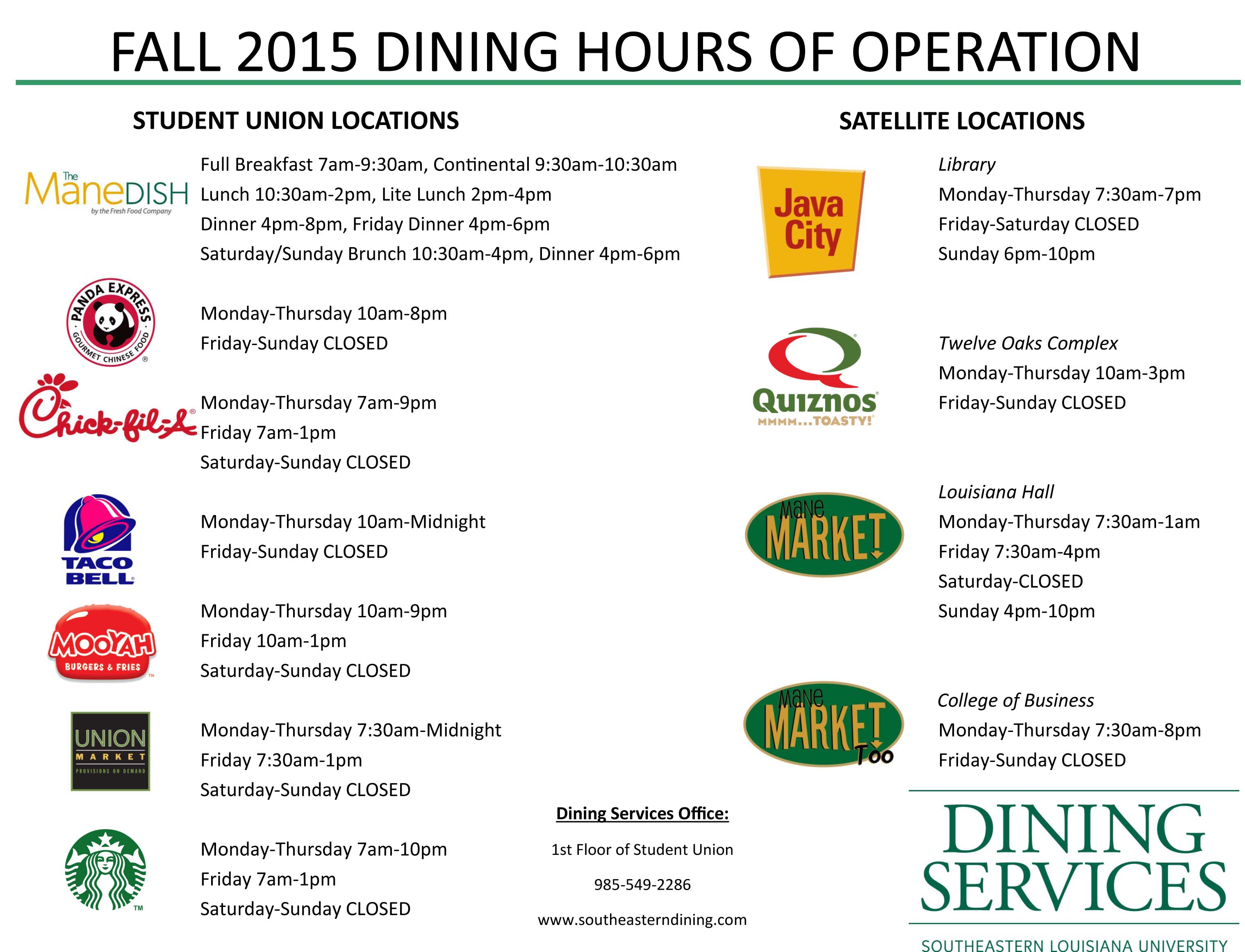 Admin/dining/hours Of Operation/index.pcf Inside Southeastern Louisiana University Spring 2021 Semester Dates