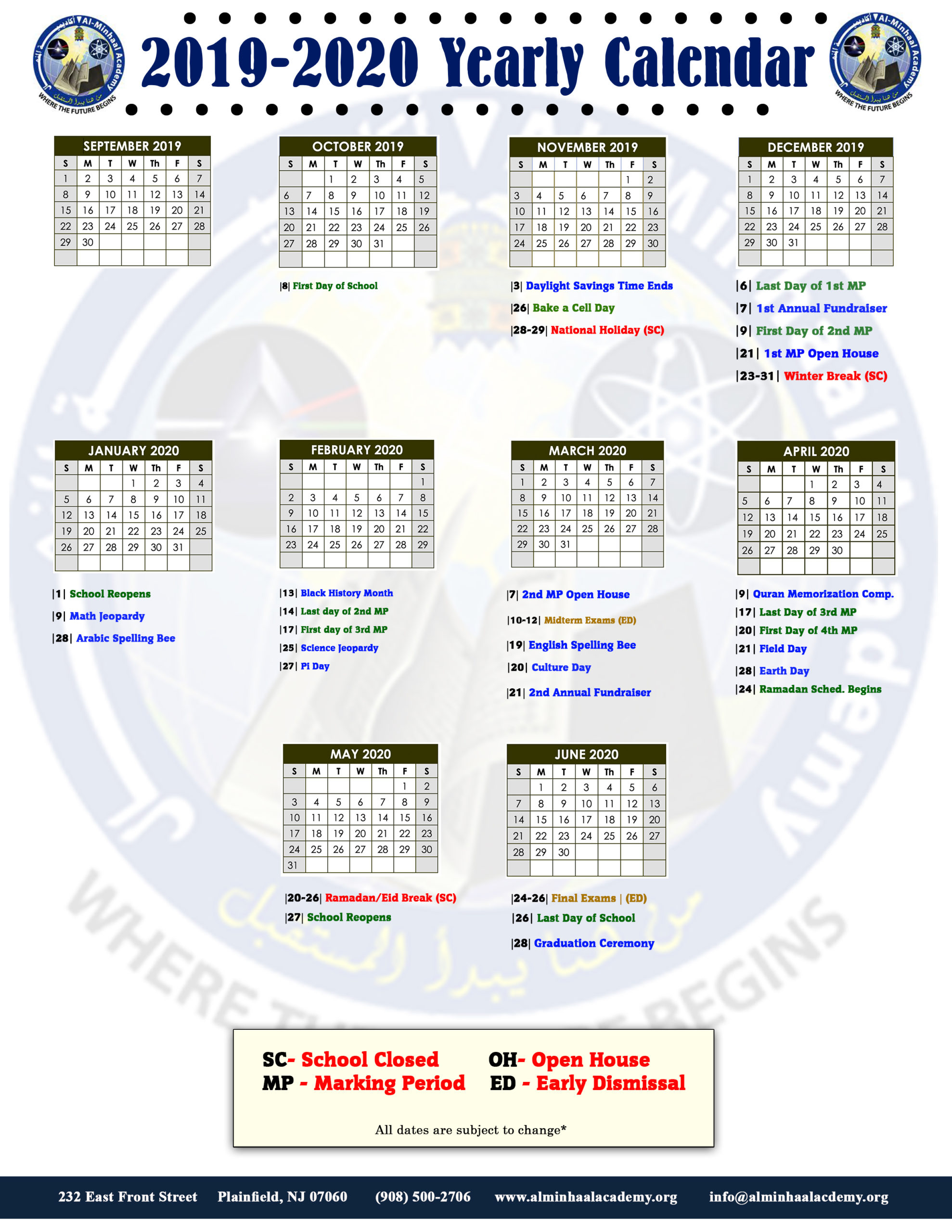 Admissions Calendar | Al Minhaal Academy For Woodbridge Township School Calendar