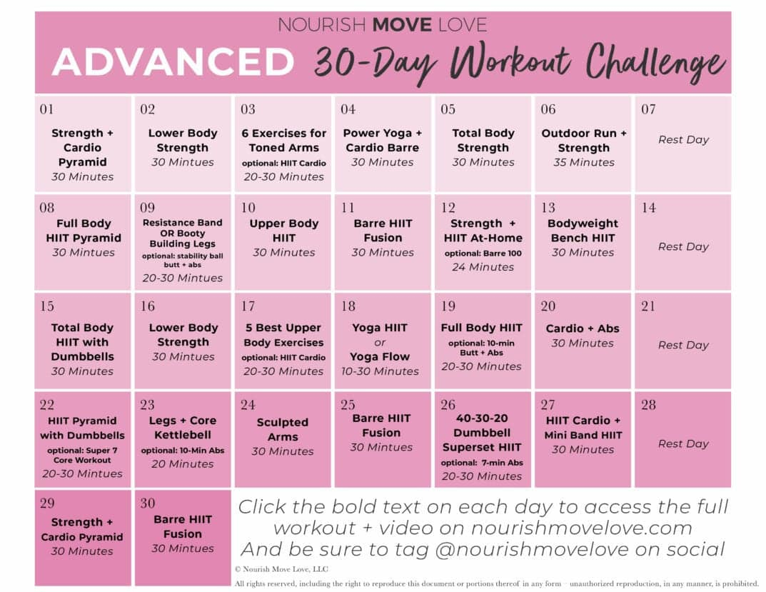 Advanced Workout Plan + 30 Day Workout Calendar | Nourish Inside 30 Days Fitness Calendar