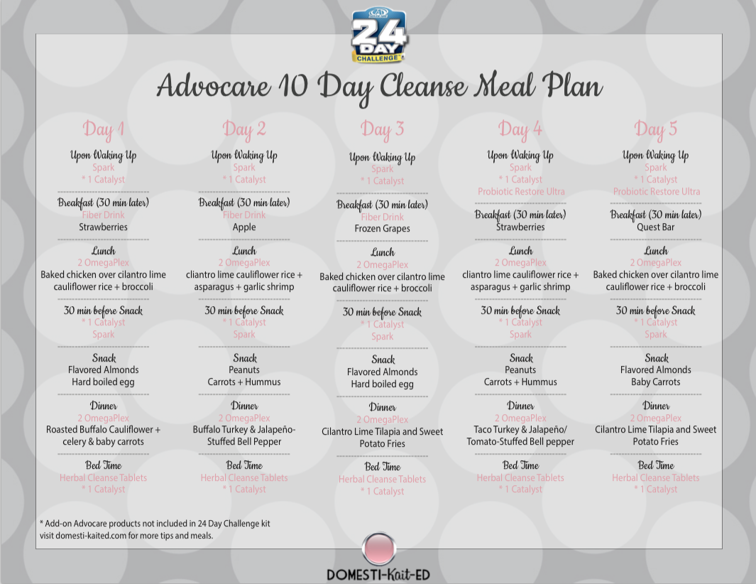 Advocare 10 Day Cleanse Meal Plan: A Meal Plan For The First Within 24 Day Jumpstart Pdf Workout