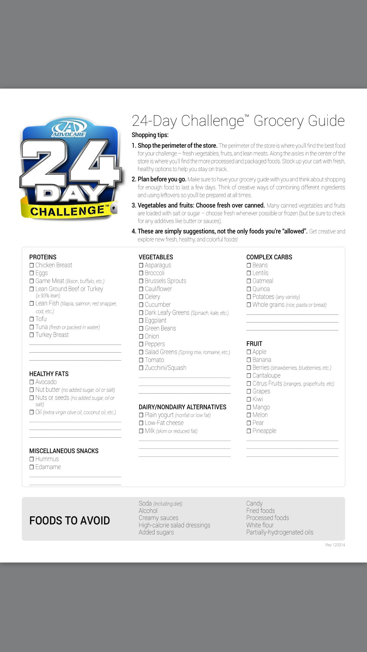 Advocare 24 Day Challenge Grocery List. Www.fdchampions Inside 24 Day Jumpstart Pdf Workout