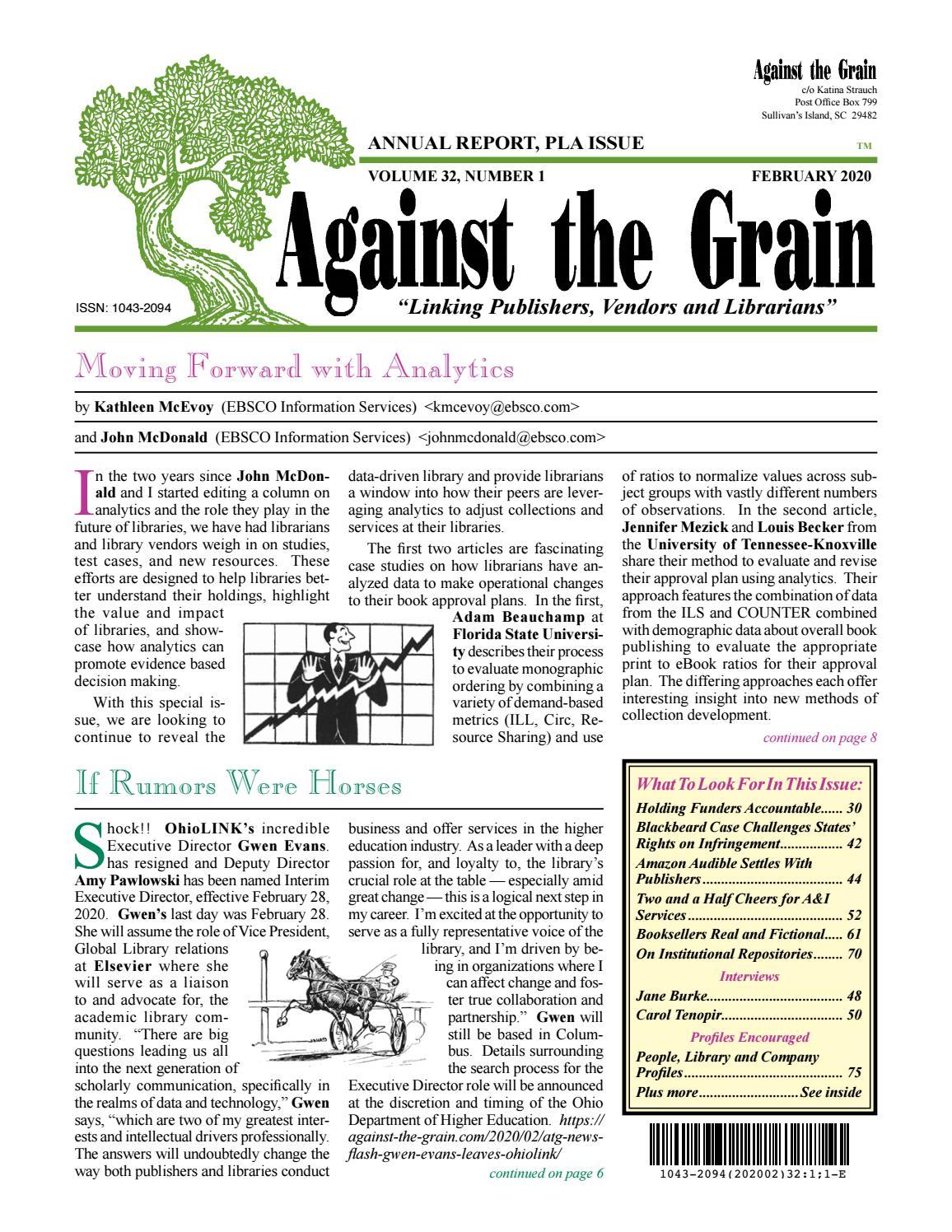 Against The Grain V32 #1 February 2020 For Wiliam & Mary 2021/2020 Calendar