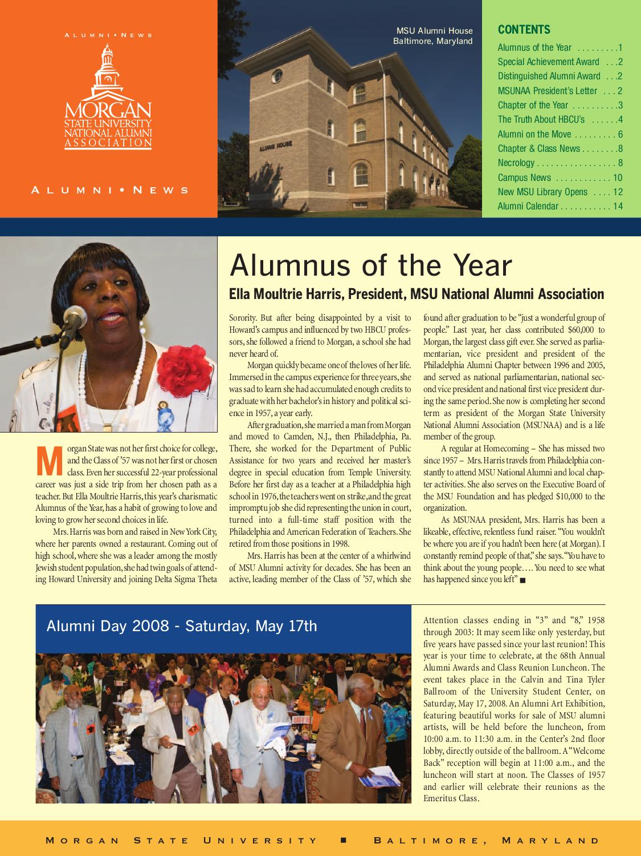 Alumni News Spring 2008Morgan State University - Issuu Pertaining To Morgan State Spring Calendar