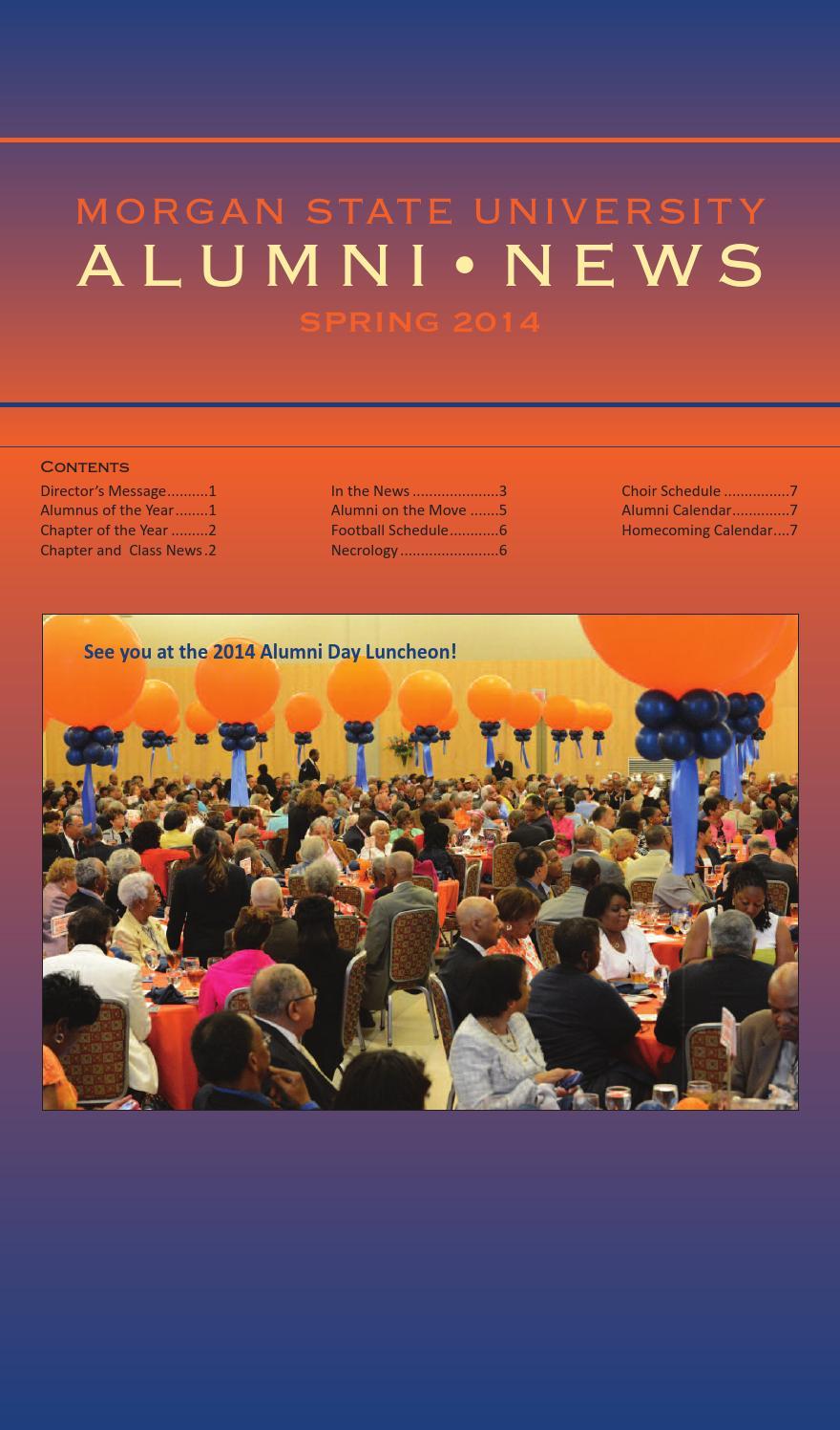 Alumni News Spring 2014 Issuemorgan State University - Issuu In Morgan State Spring Calendar
