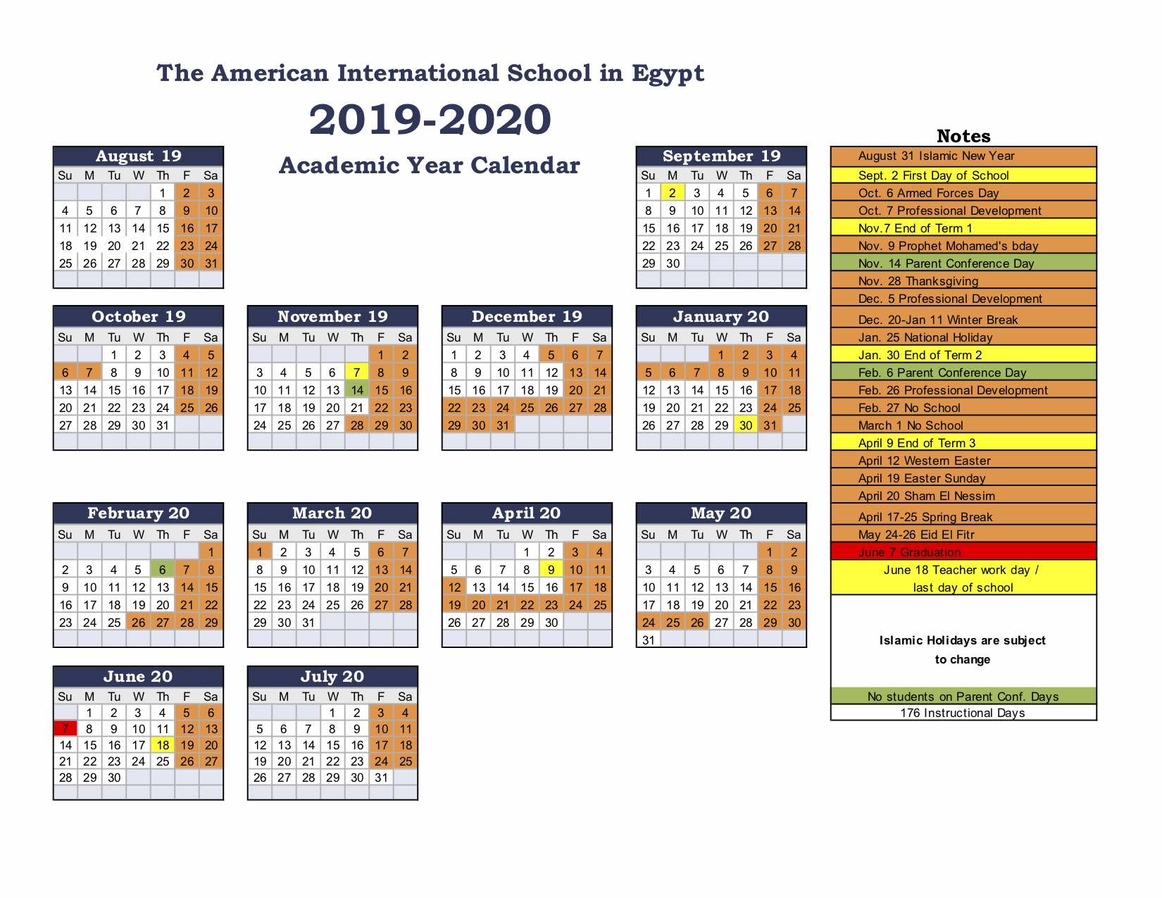 American International School Of Egypt: School Calendar In West Hills High School Calendar