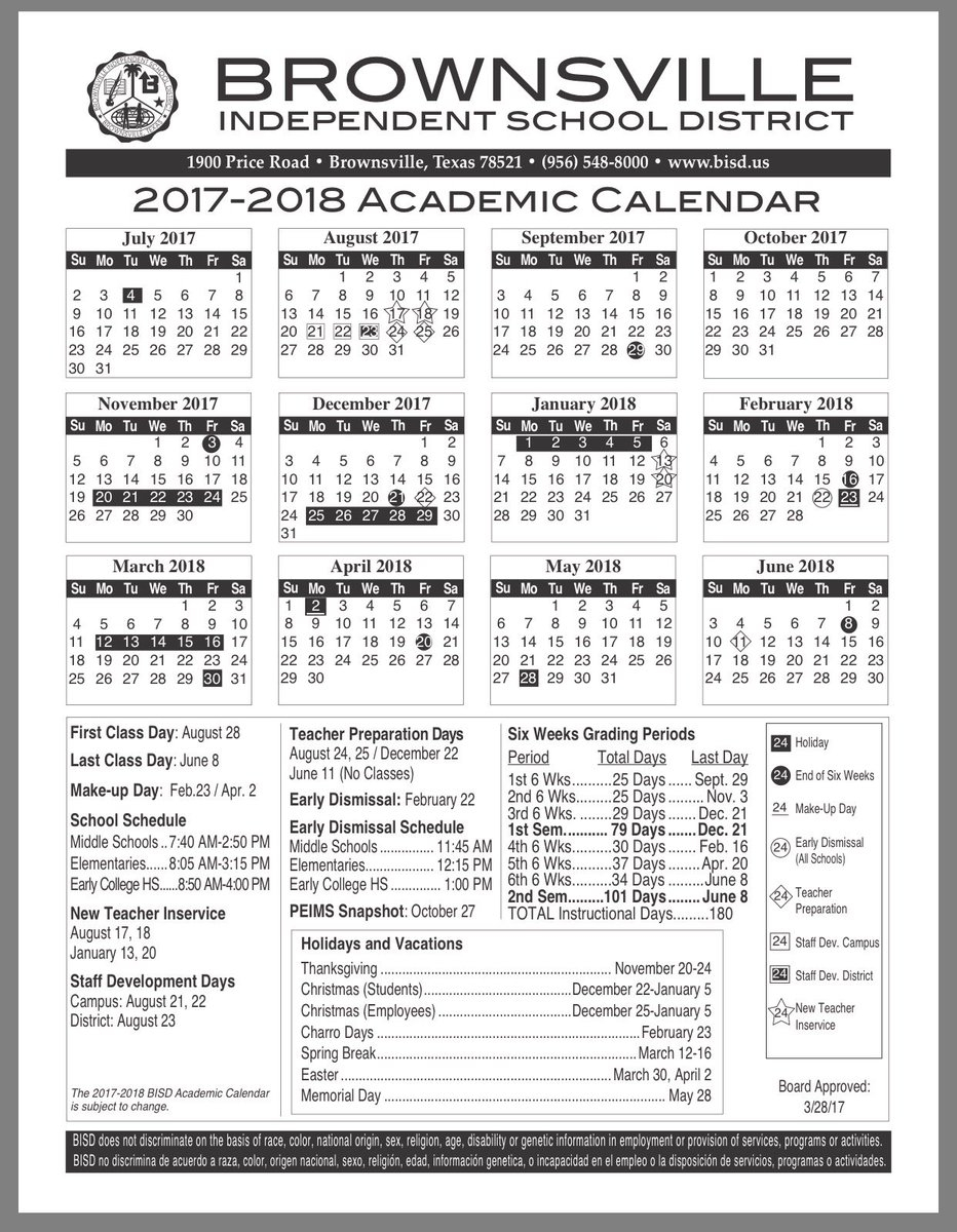"Ana S. Burguete On Twitter: ""#brownsville Independent School Intended For Brownsville Isd Academic Calendar"