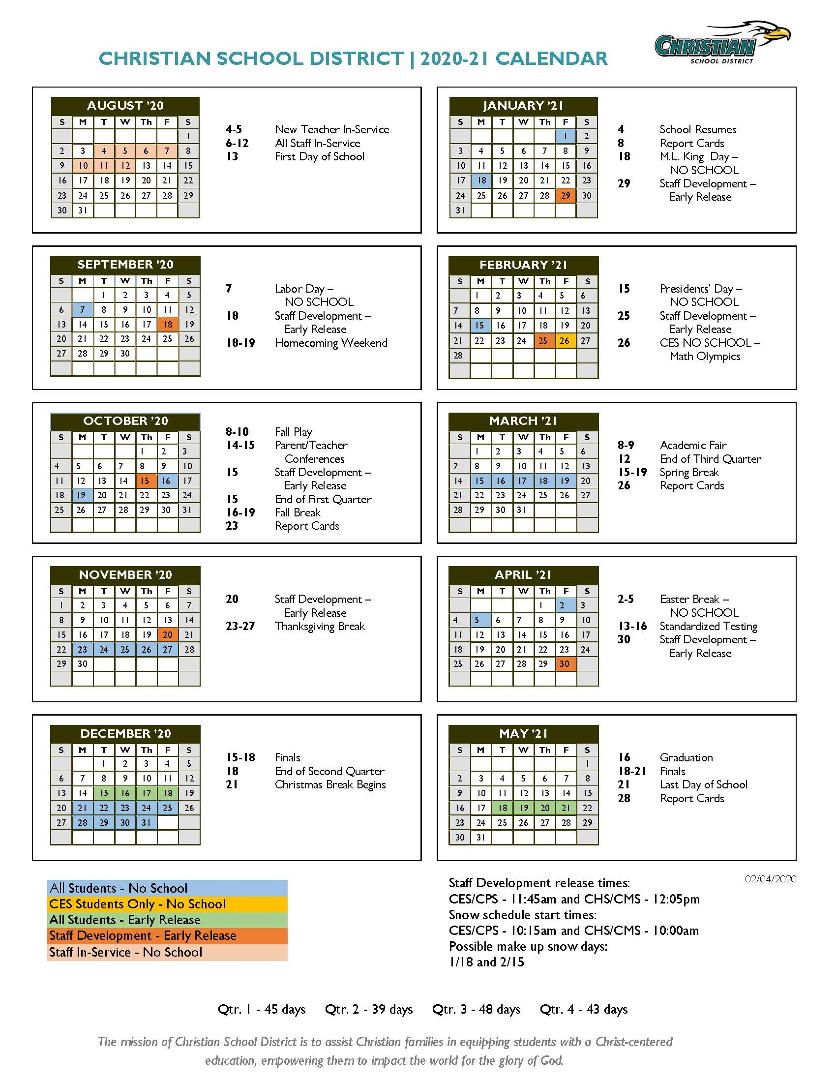 Annual Academic Calendar - Christian School District Pertaining To Saint Charles Communty College Calendar 2020