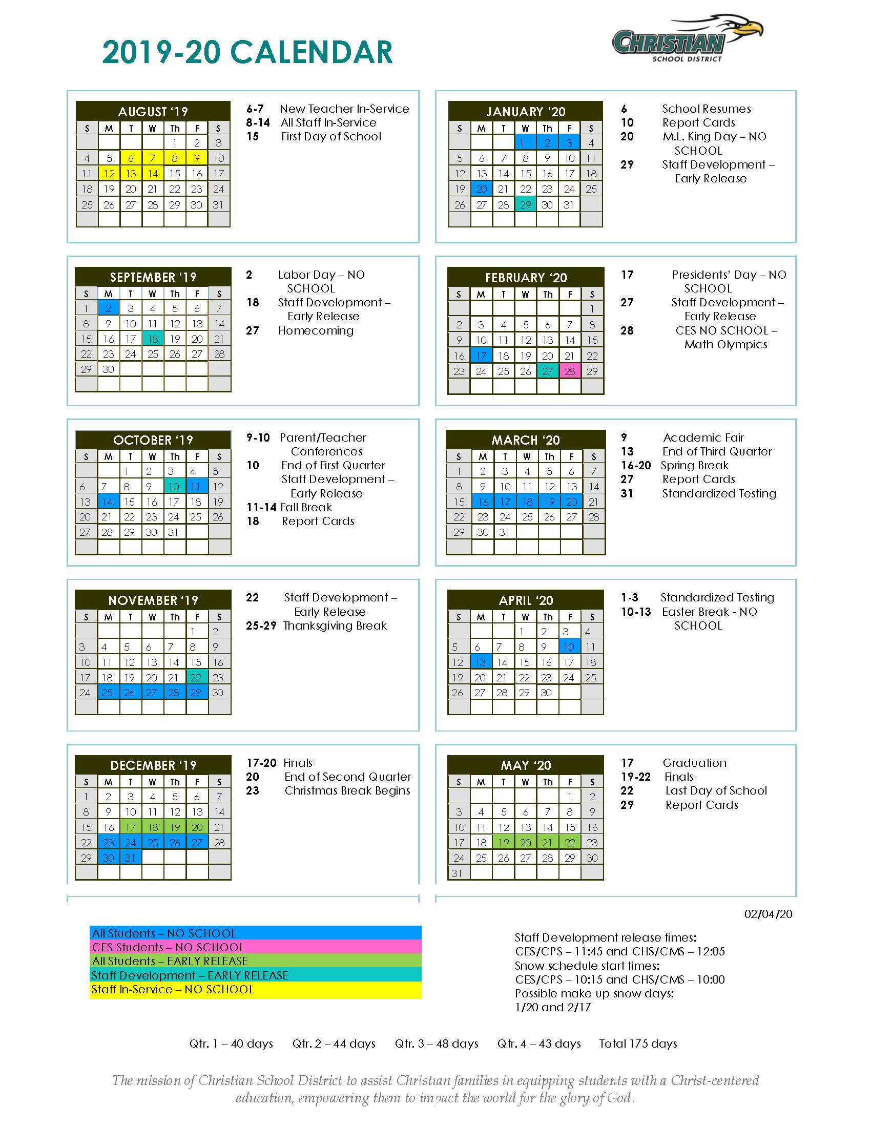 Annual Academic Calendar - Christian School District Within Saint Charles Communty College Calendar 2020