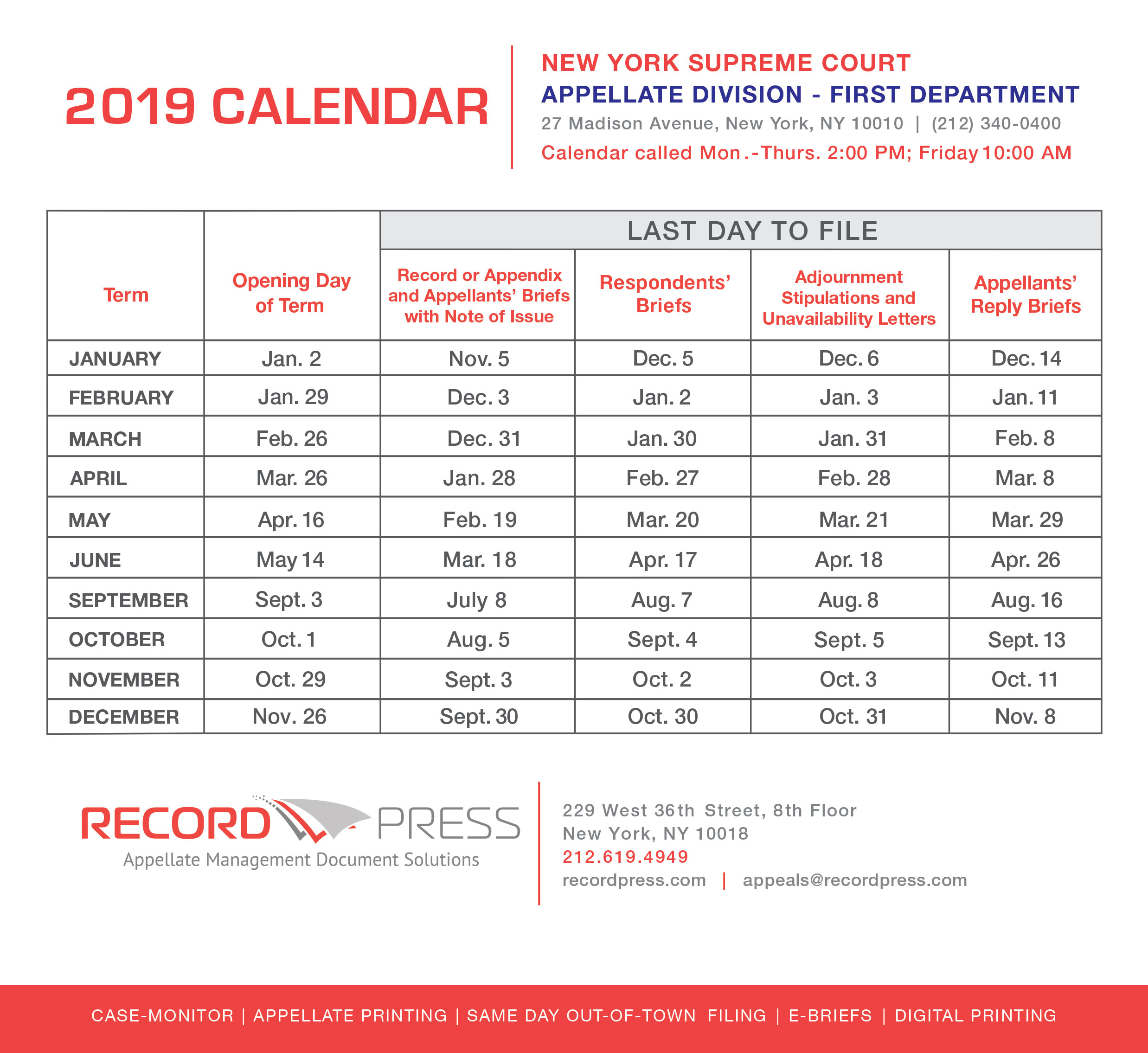 Appellate Division - First Department 2019 Term Calendar With Appellate Divisiohjn Seconf Dept Calendar