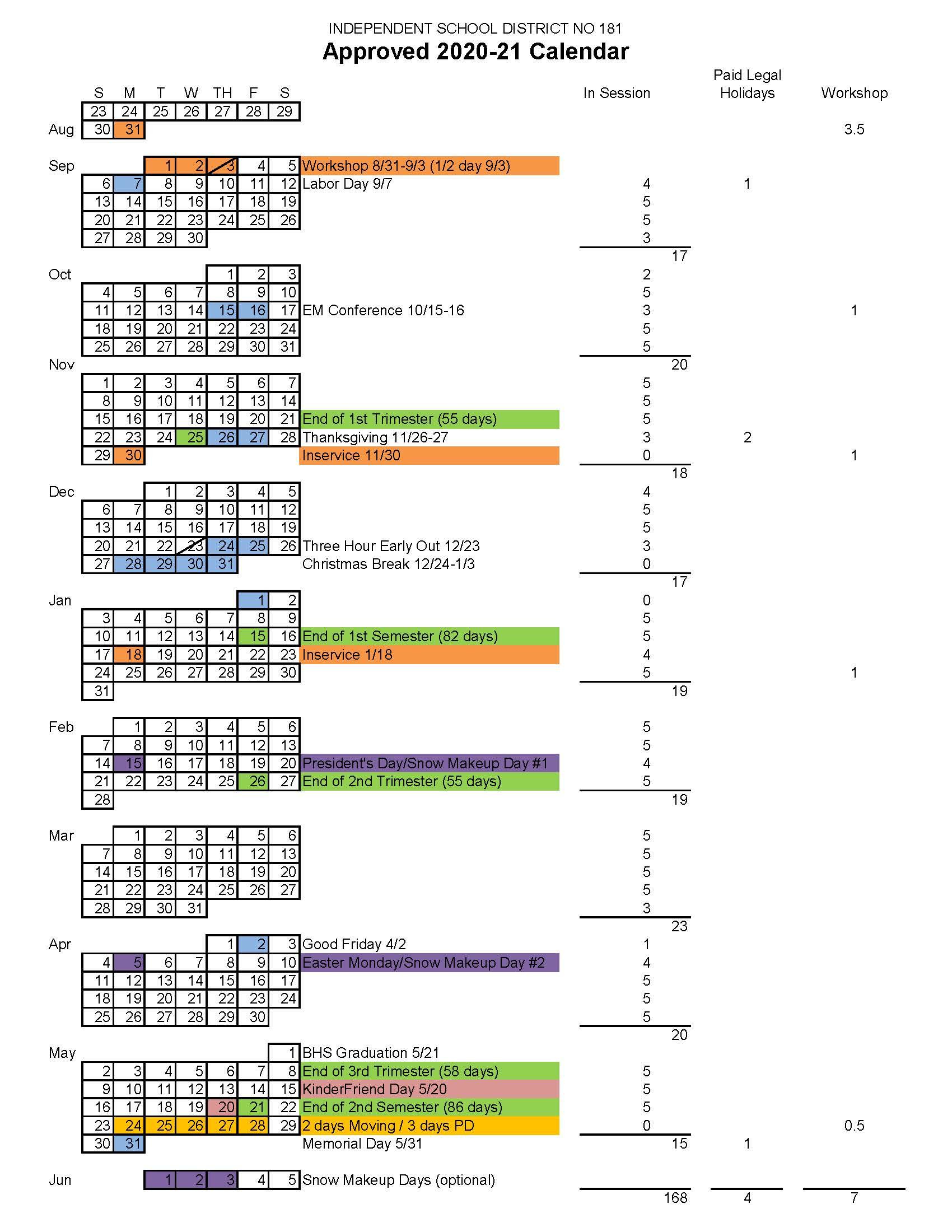 Approved 2020 21 Calendar - Brainerd Public Schools For Harrison School District 2 Calendar 2021