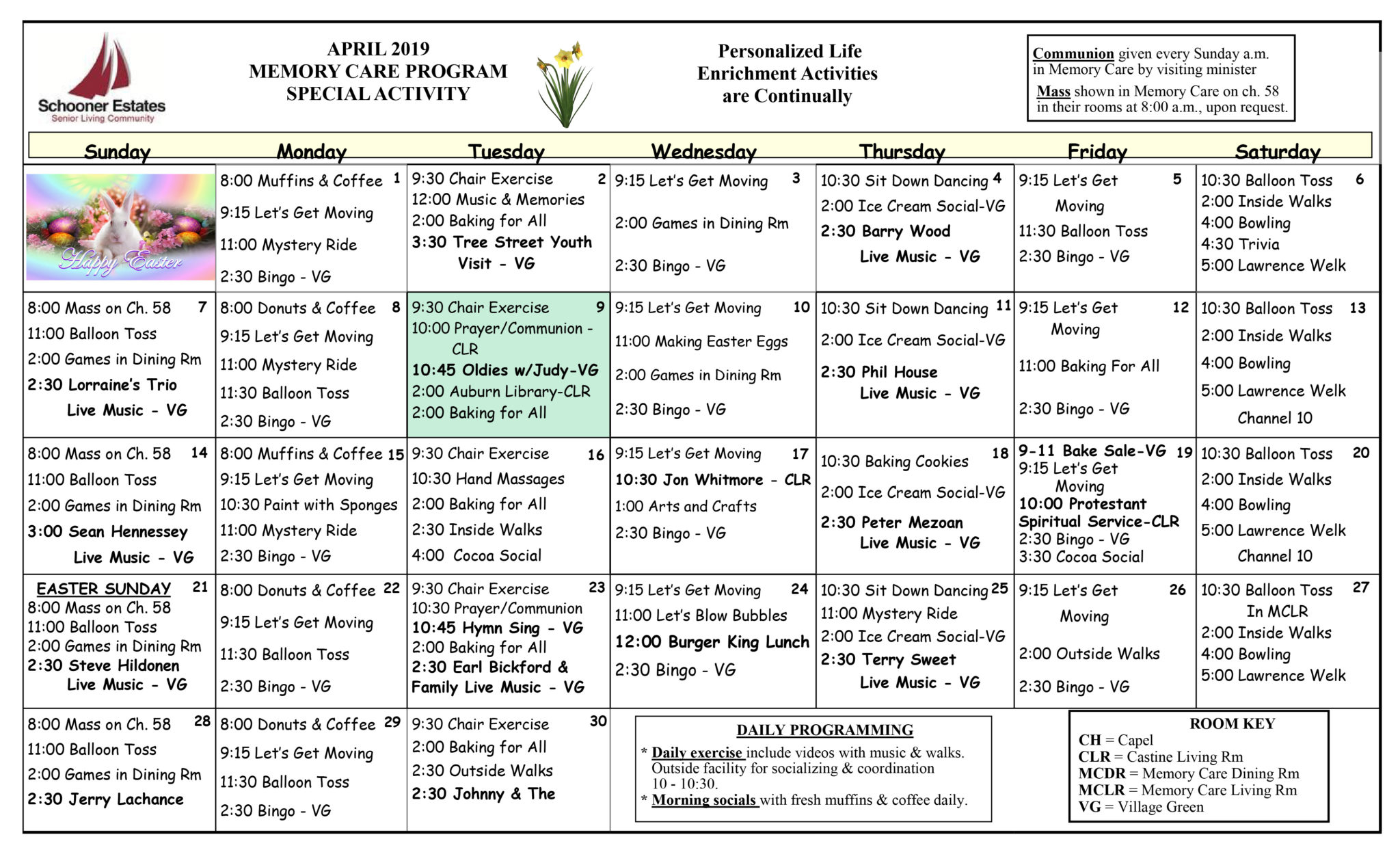 April 2019 Activity Calendars In Assisted Living Facility Activity Calendar