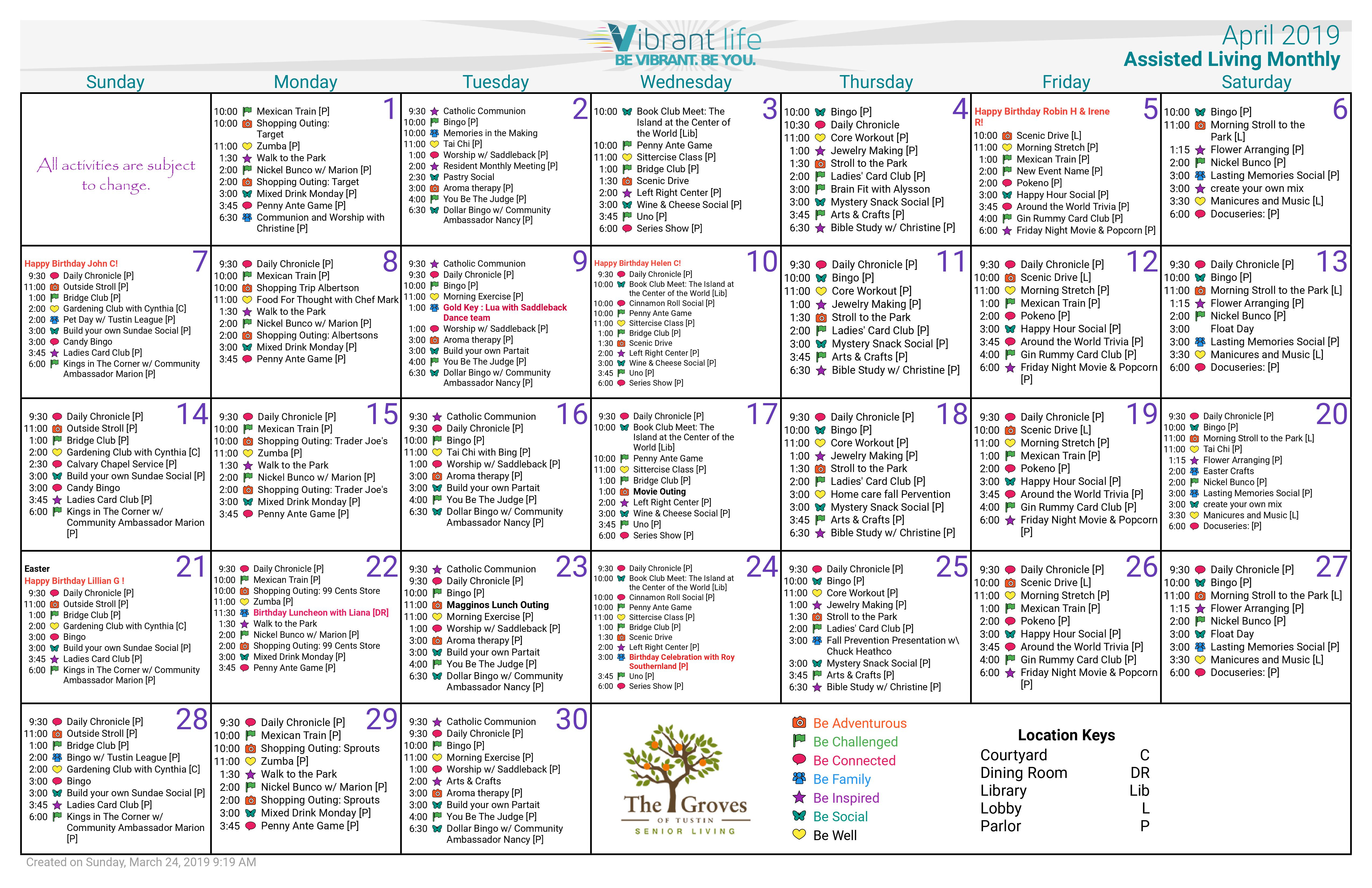 April 2019 Assisted Living Calendar - Groves Of Tustin Pertaining To Mexican Calendar For Names