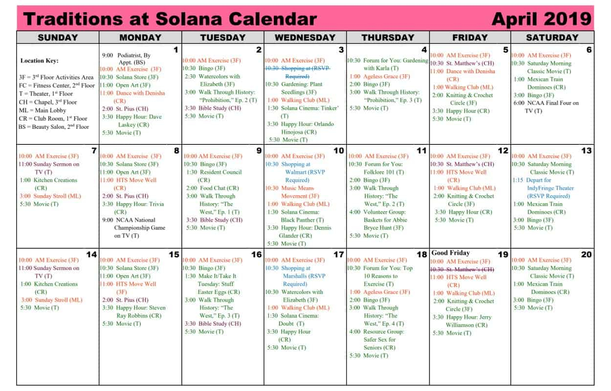 April 2019 Calendar | Traditions At Solana Within Saint Names Mexican Calendar