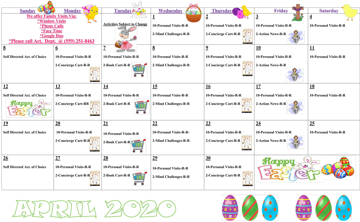April Activities Calendar – 2020 – Covenant Care Throughout What Is The Size Of The Activity Calendar For The Facility To Posted