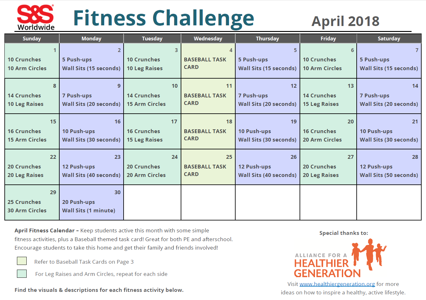 April Printable Fitness Challenge Calendar | Workout With April Fitness Challenge Calendar