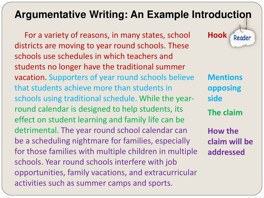Argumentative Introductions – Ppt Download Regarding Example Of Year Around School