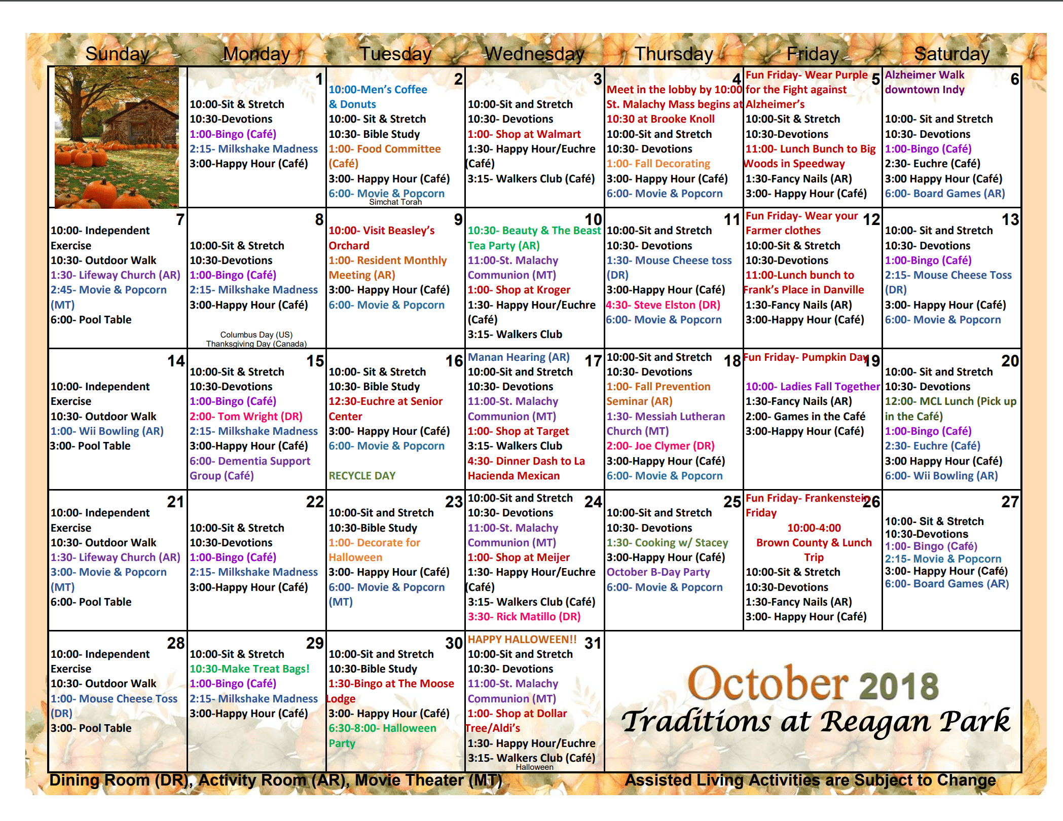 Assisted Living Activities | Traditions At Reagan Park For Assisted Living Activities Schedule