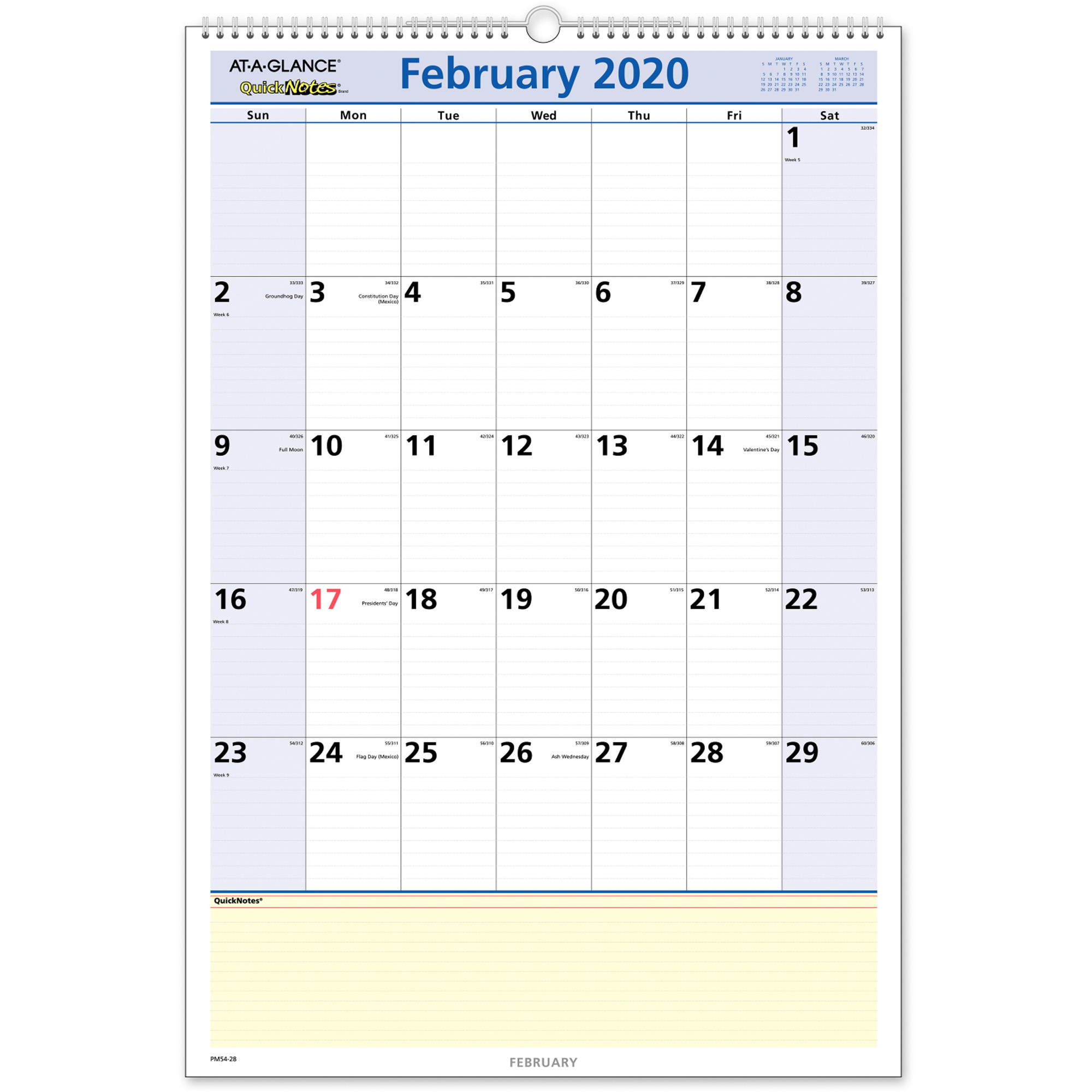 """At A Glance Quicknotes Monthly Wall Calendar – Yes – Monthly – 1.1 Year –  January 2020 Till January 2021 – 1 Month Single Page Layout – 15 1/2"""" X 22 With North Syracuse School Calendar 2021"""