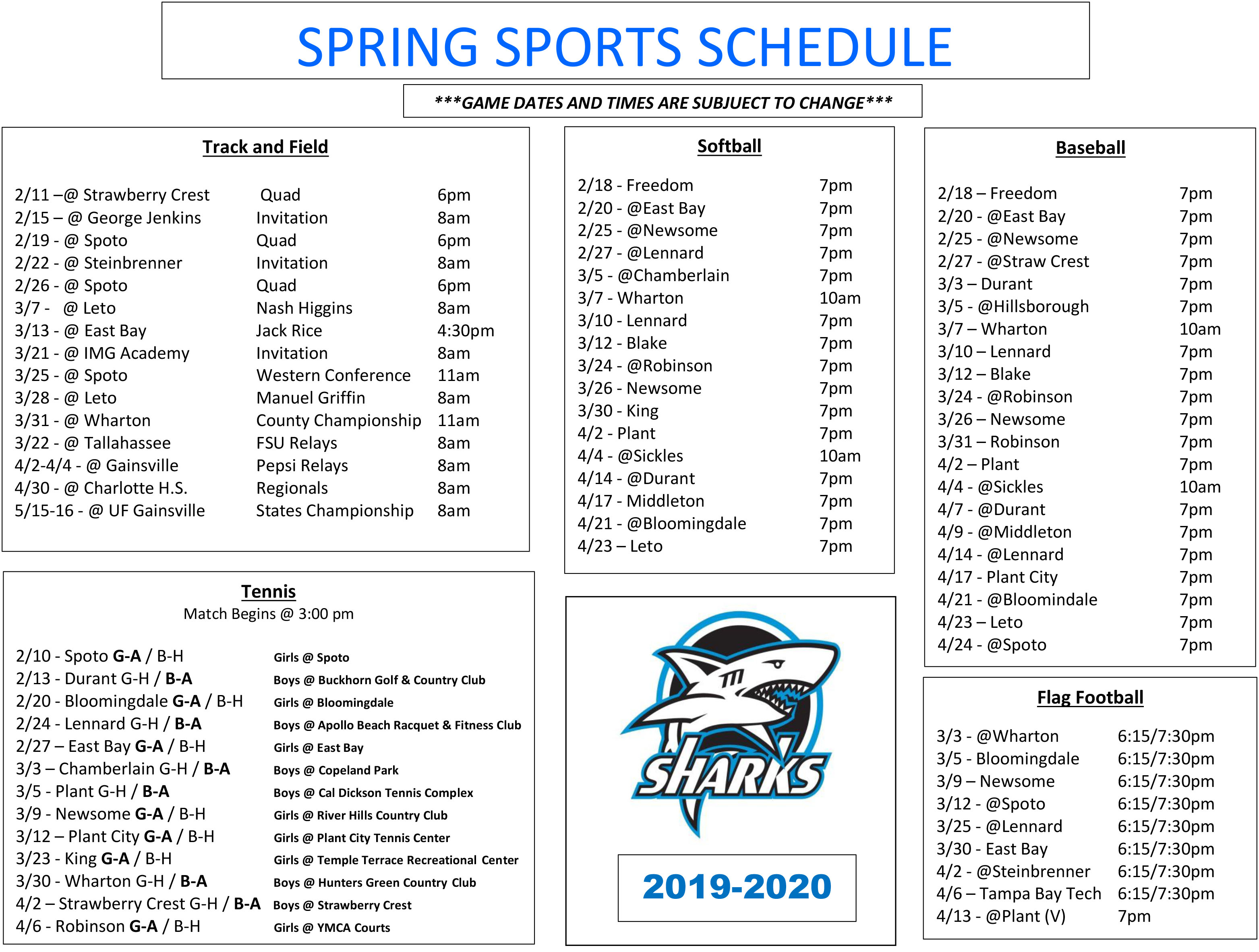 Athletics Inside Spring 2021 Calendar Hillsborough Community College