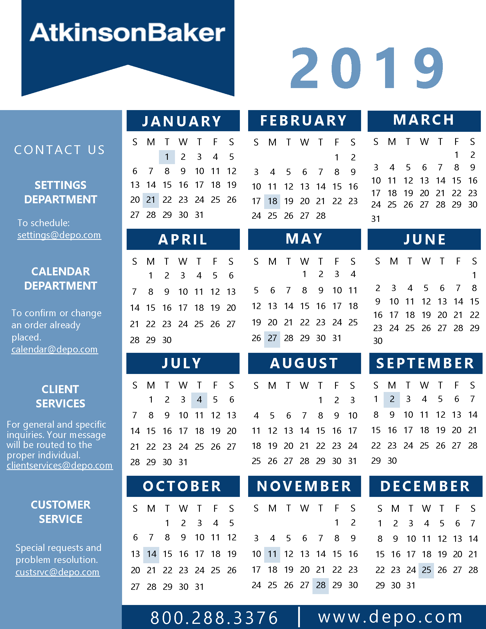 Atkinson Baker | Calendar And State Holidays Intended For Nc Court Federal Court Calendar