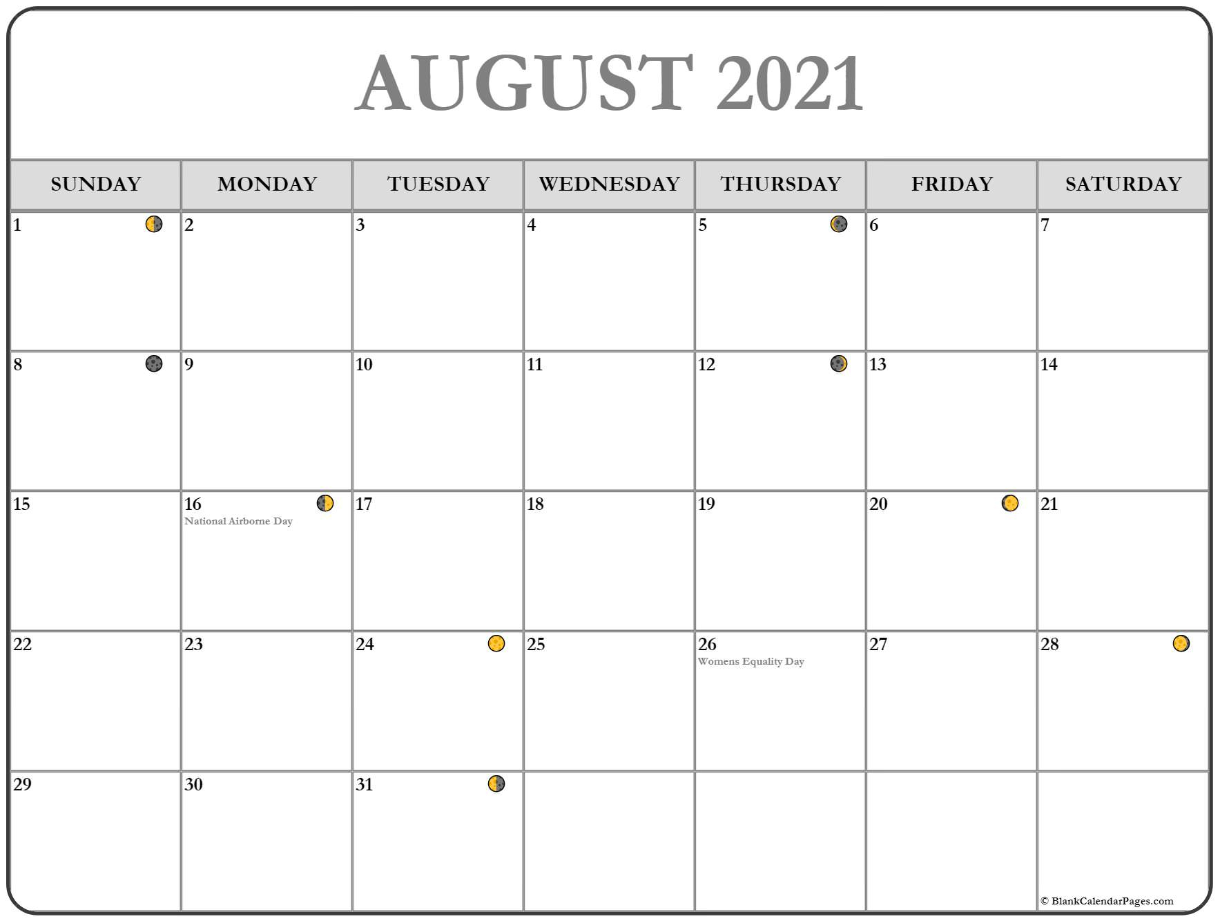 August 2021 Lunar Calendar | Moon Phase Calendar With Regard To Moon Calendar 2021 Name And Date For Kids