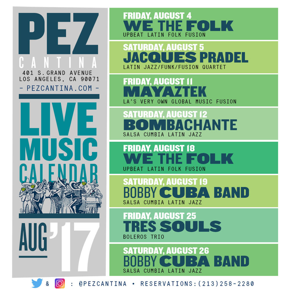 August Live Music Calendar — Pez Cantina intended for Live Musci Los Angeels Calendar