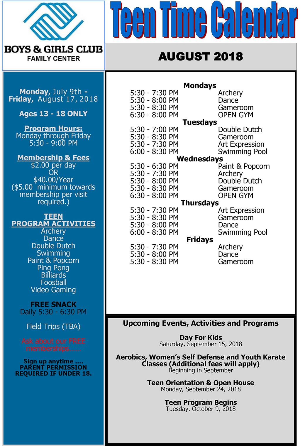 August Teen Summer Program Calendar | Boys & Girls Club Throughout Boys And Girls Club Calender For Meetingd