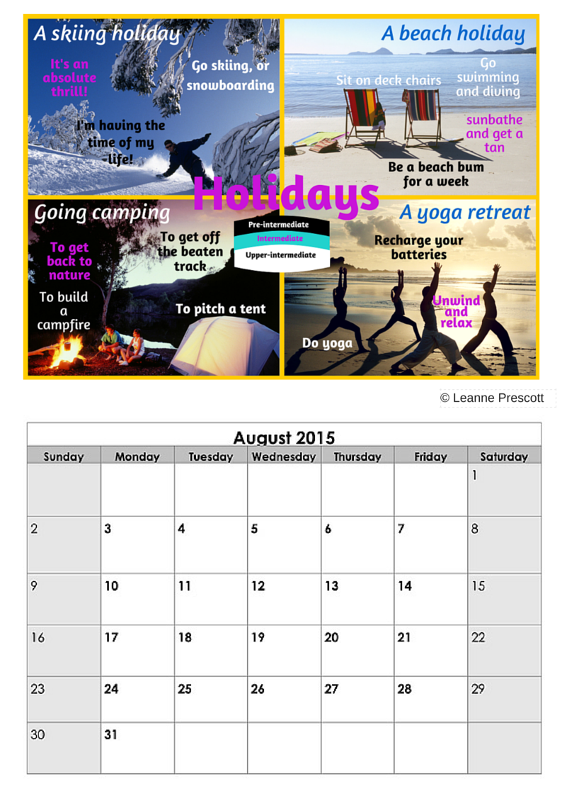 August Vocabulary Calendar - Holiday Phrases - Lsi Portsmouth Intended For Everyday Is A Holiday Calendar