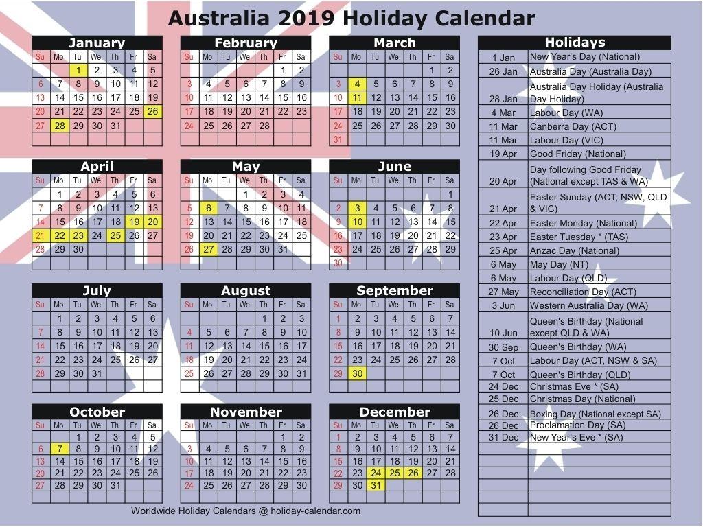 Australia 2019 / 2020 Holiday Calendar Dowload Check More At For Uri Academic Calendar 2021