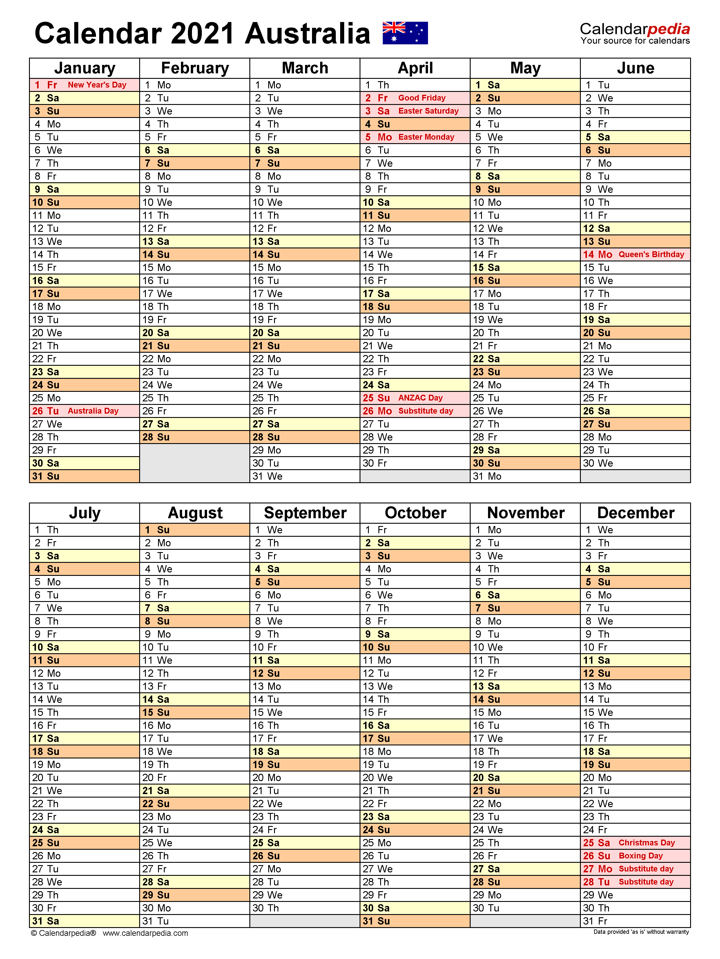 Australia Calendar 2021 – Free Printable Word Templates For Word Of The Day Calendar 2021