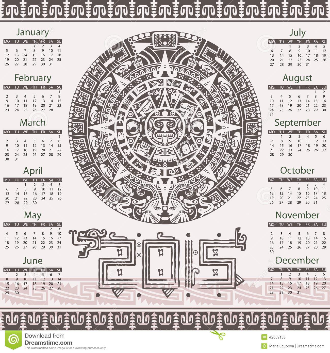 Aztec Calendar 2015 Stock Vector. Illustration Of Native Inside How To Read Aztec Calendar