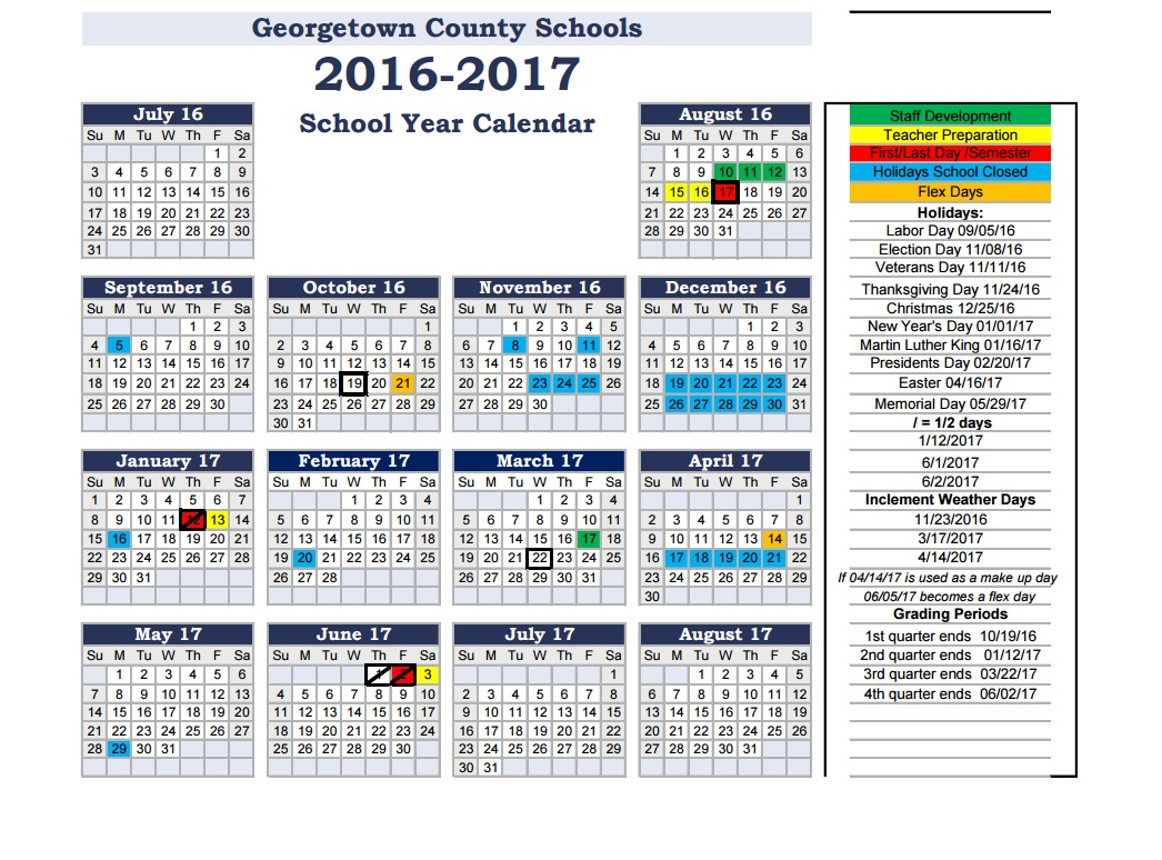 Back 2 School: Georgetown County School District For Williamsburg County School District Calendar